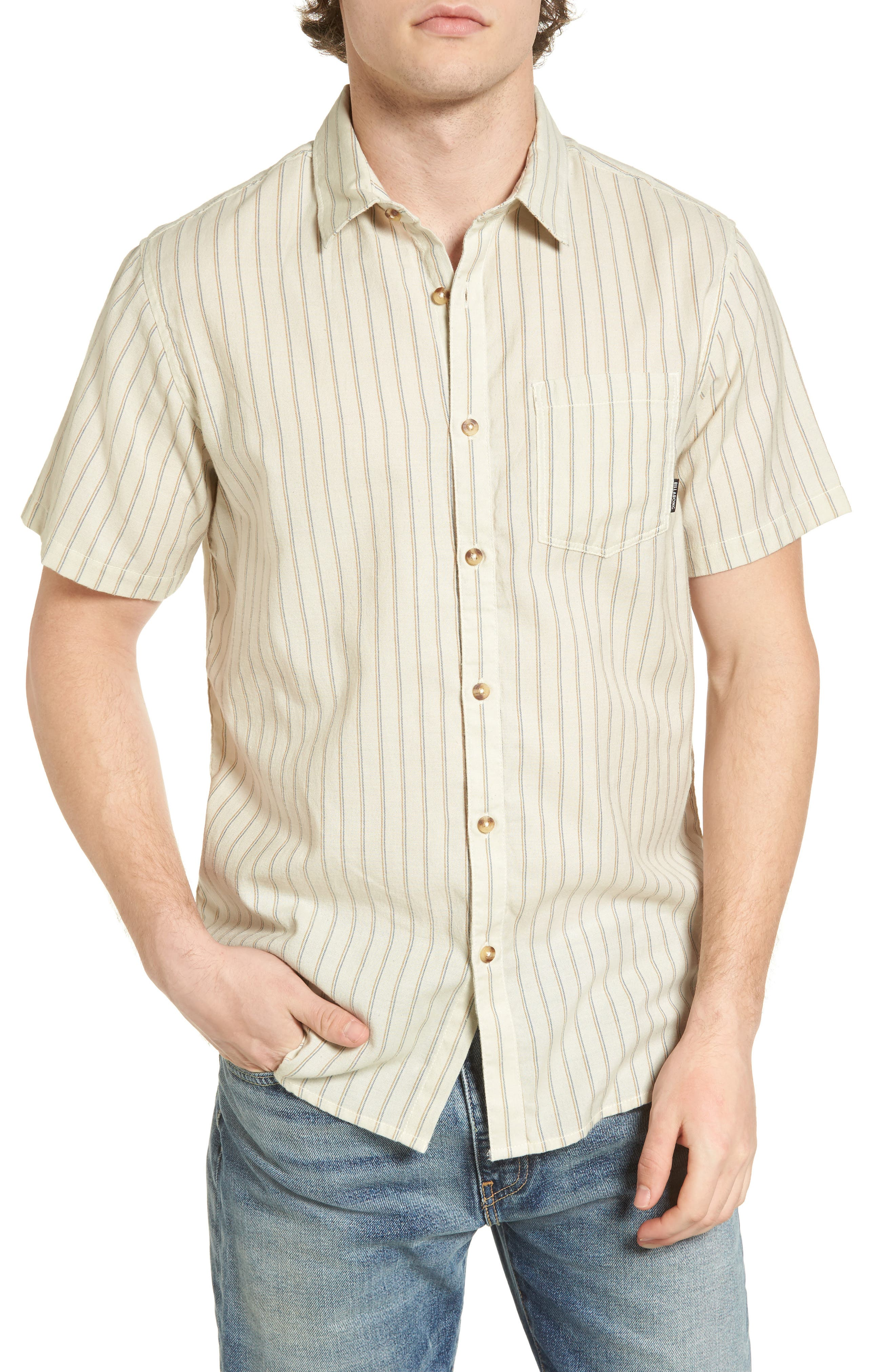 Kelso Tailored Fit Stripe Shirt,                         Main,                         color, Stone