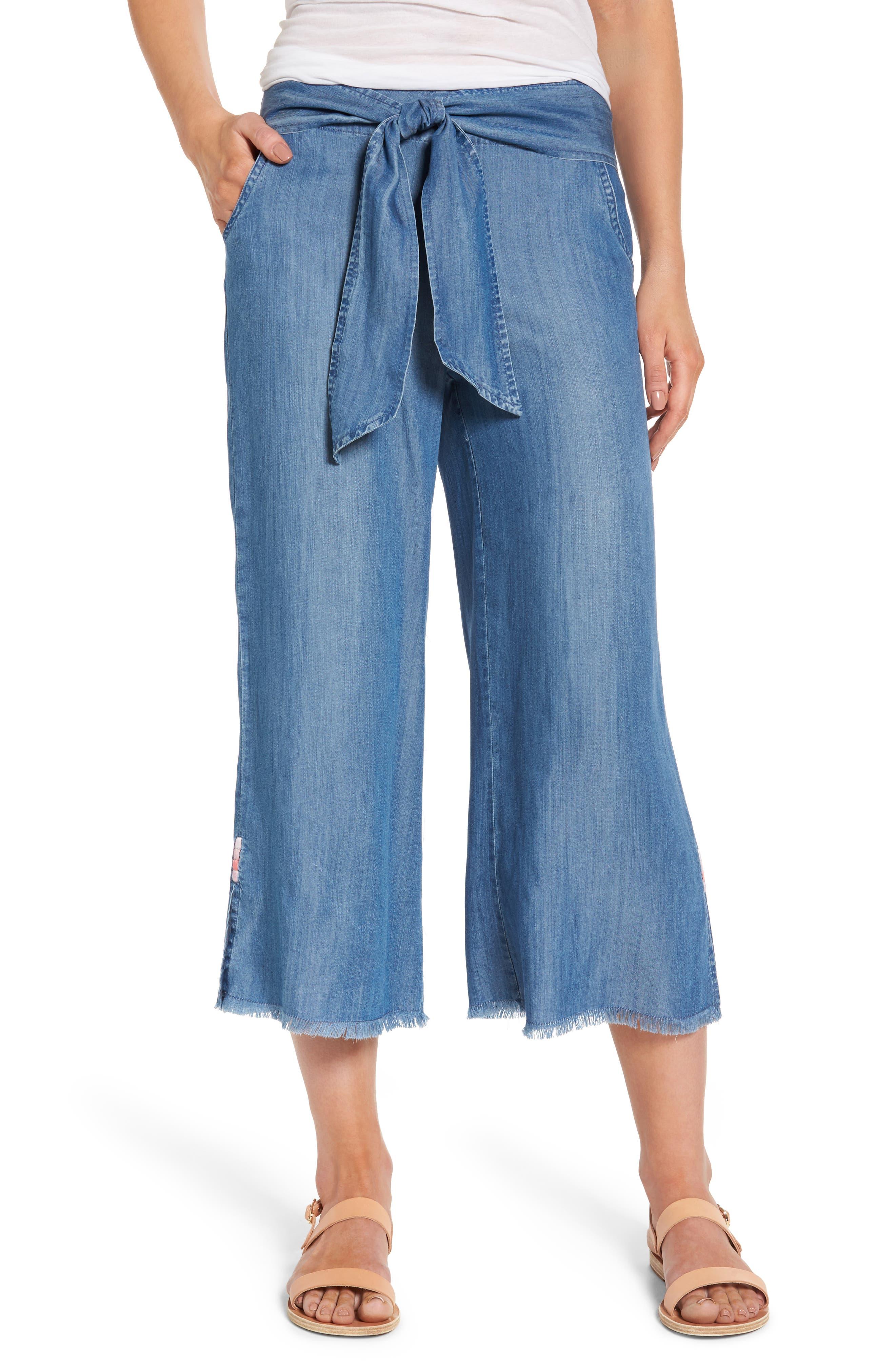 Tie Front Crop Chambray Pants,                             Main thumbnail 1, color,                             Medium Blue