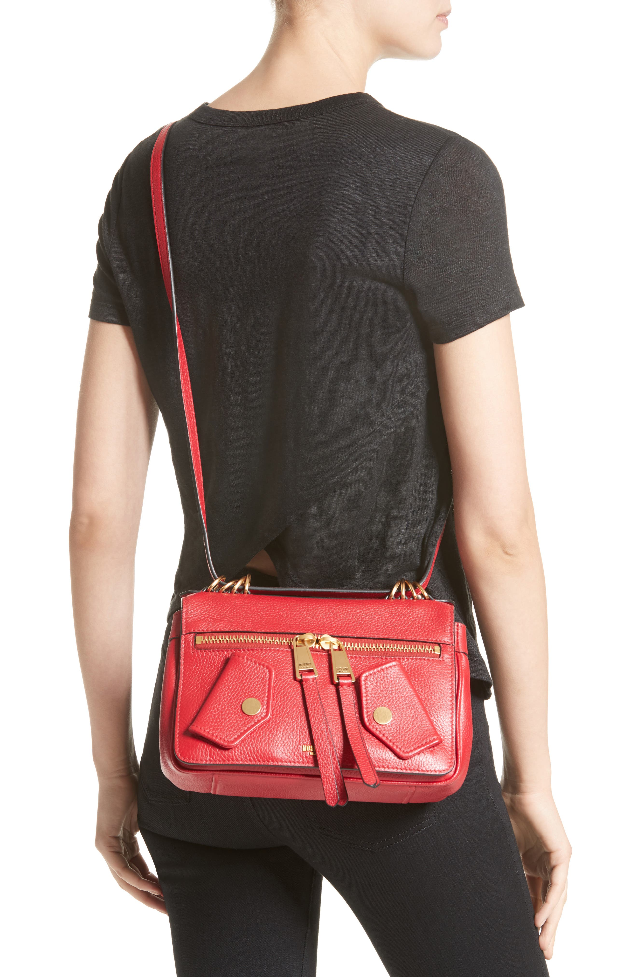 Grainy-B Leather Crossbody Bag,                             Alternate thumbnail 2, color,                             Red