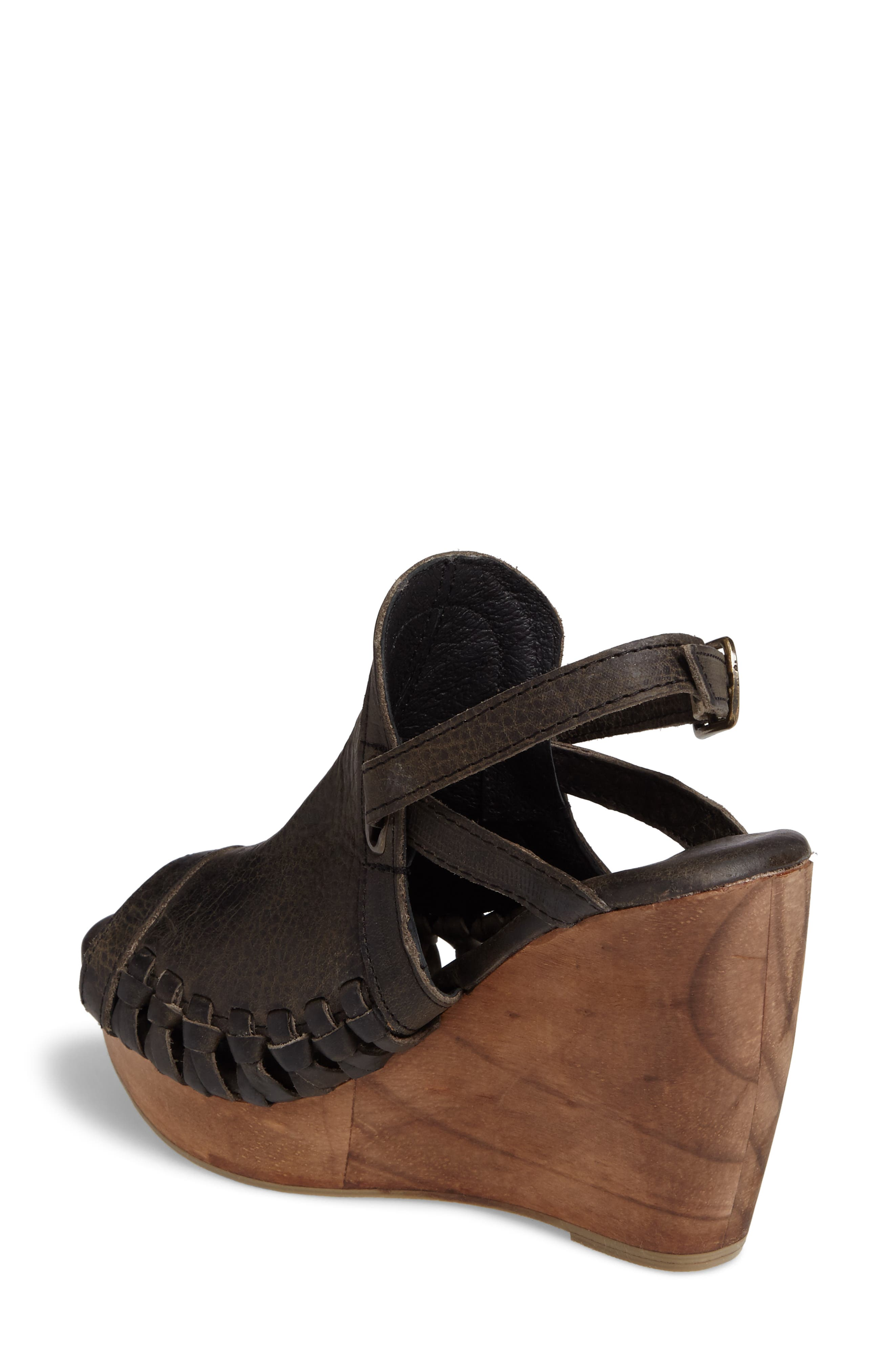 Carry Wedge Sandal,                             Alternate thumbnail 2, color,                             Grey Leather
