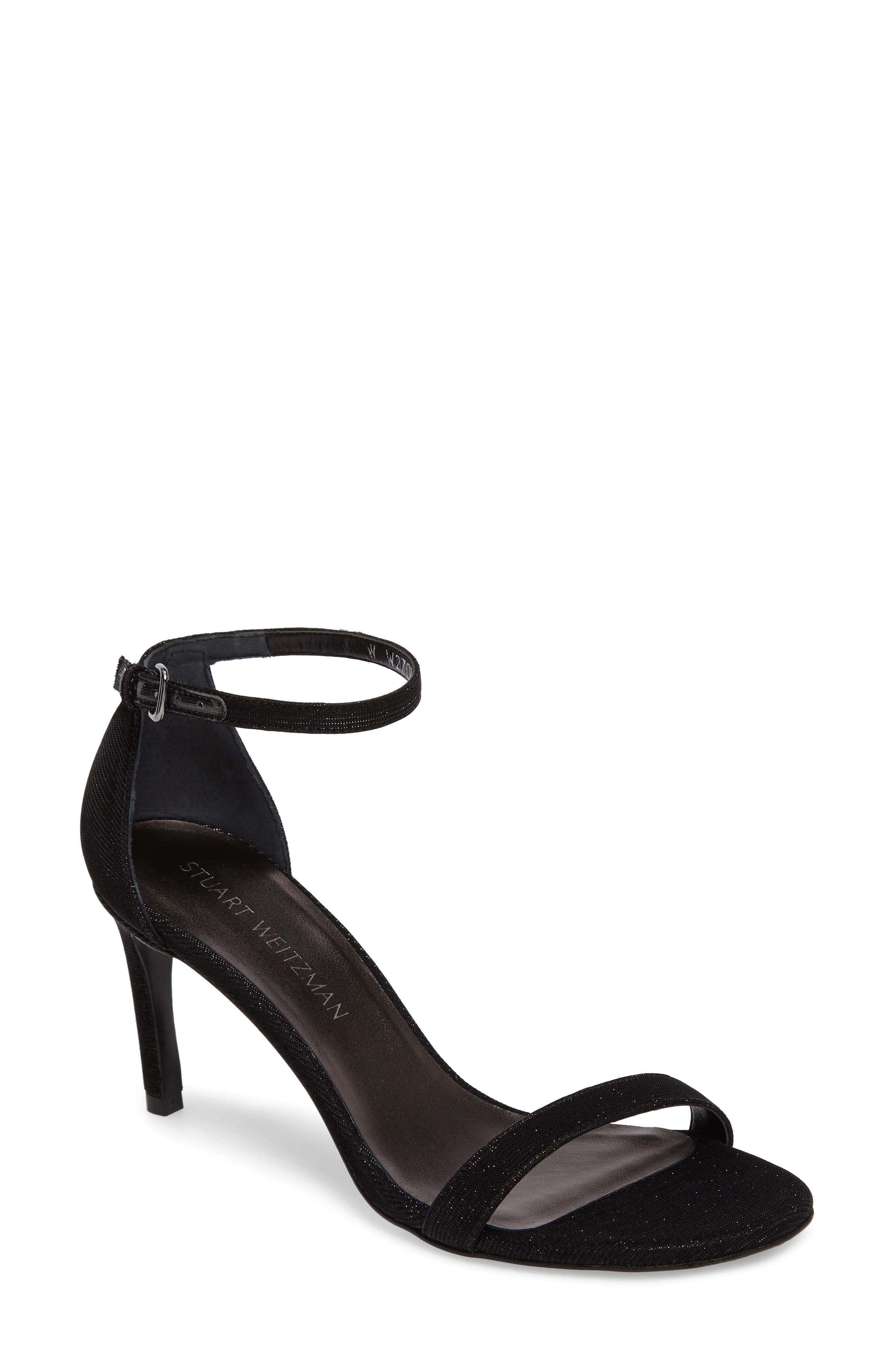 'Nunaked' Leather Ankle Strap Sandal,                             Main thumbnail 1, color,                             Nero Nocturn Nappa