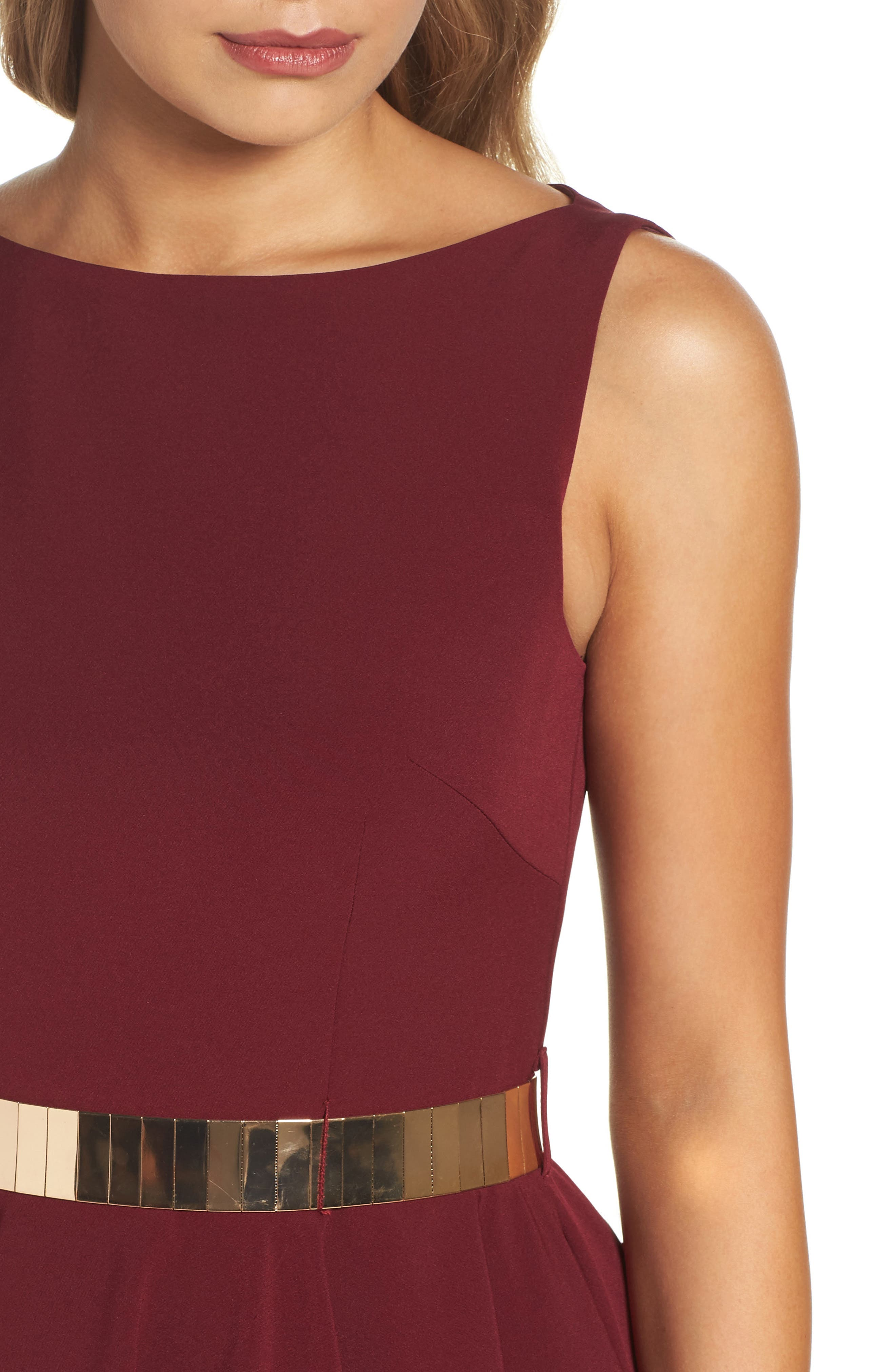 Belted Fit & Flare Dress,                             Alternate thumbnail 4, color,                             Wine