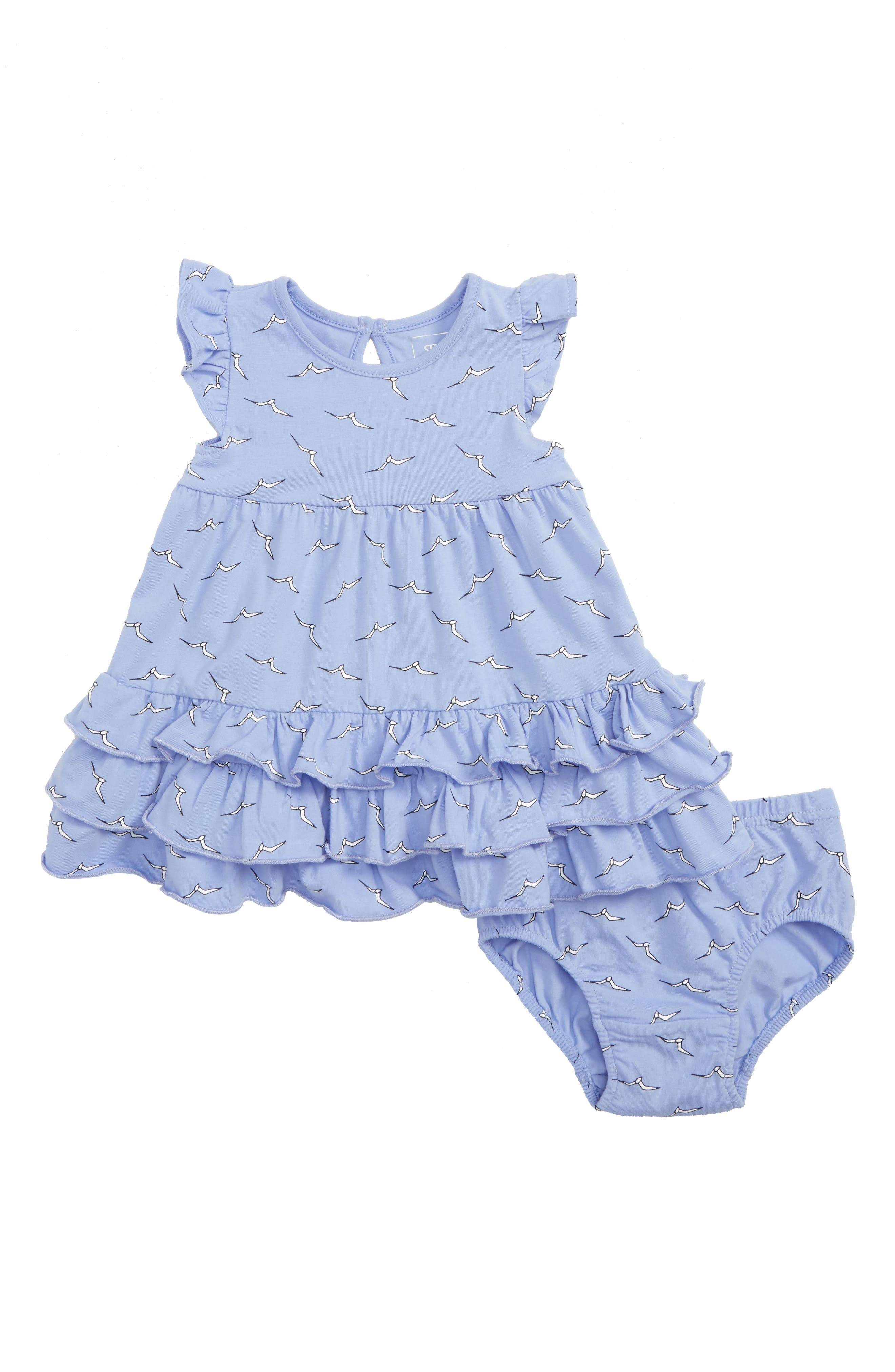 Alternate Image 1 Selected - Rosie Pope Seagulls Ruffle Dress (Baby Girls)