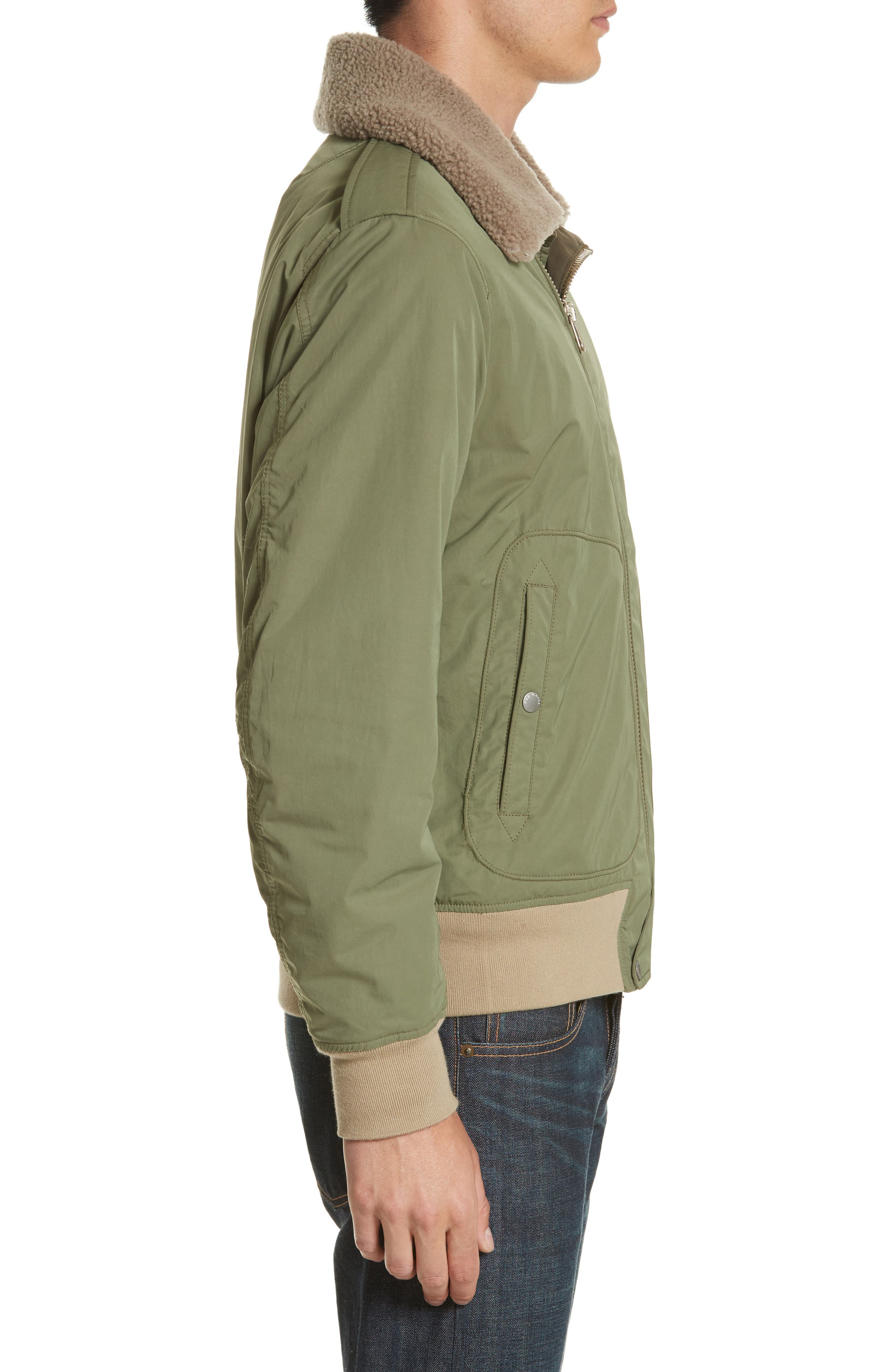 Flight Jacket with Genuine Shearling Collar,                             Alternate thumbnail 3, color,                             Army Green