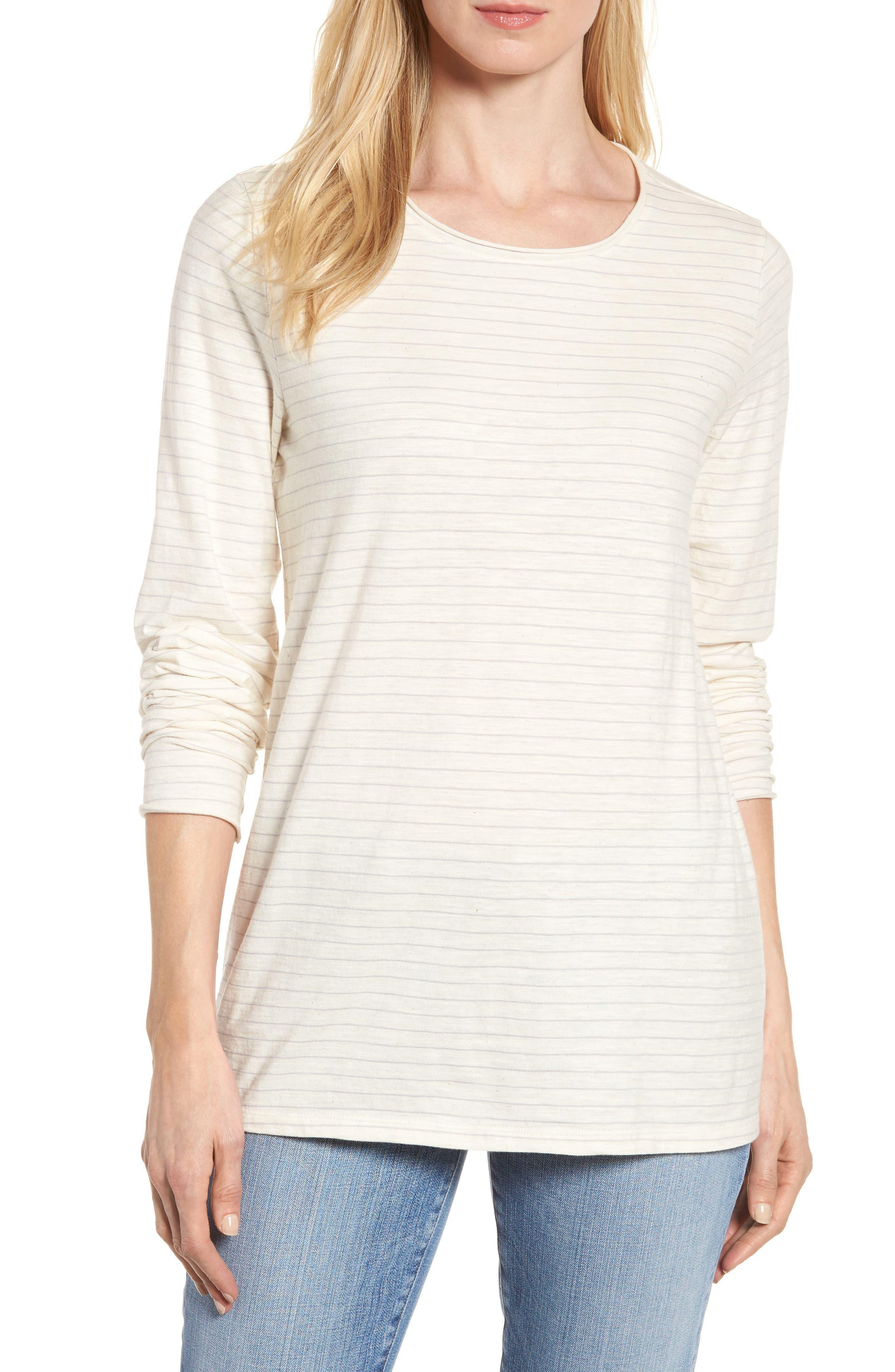 Stripe Organic Cotton Top,                         Main,                         color, Soft White