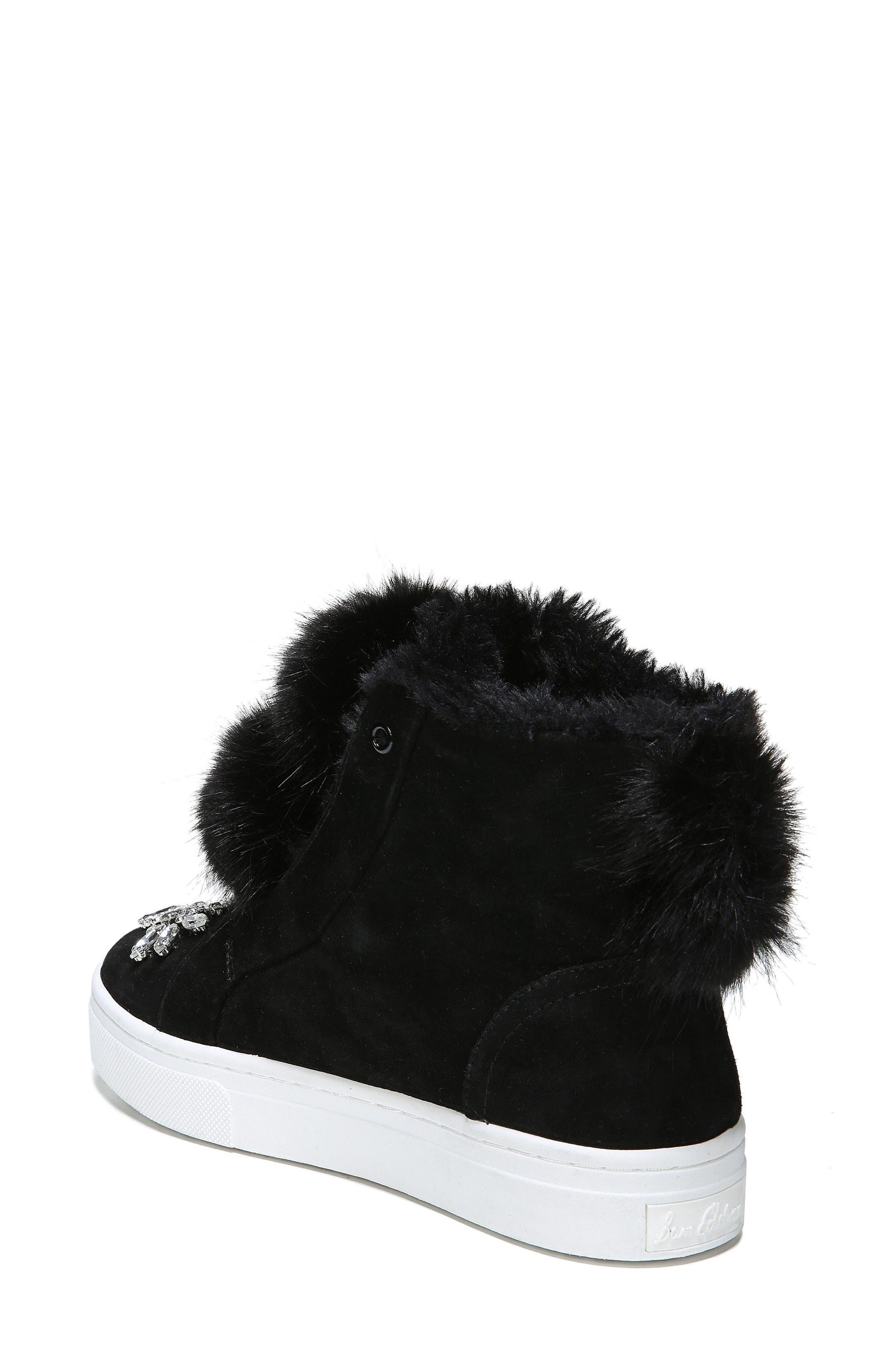 Leland Faux Fur Sneaker,                             Alternate thumbnail 3, color,                             Black Suede