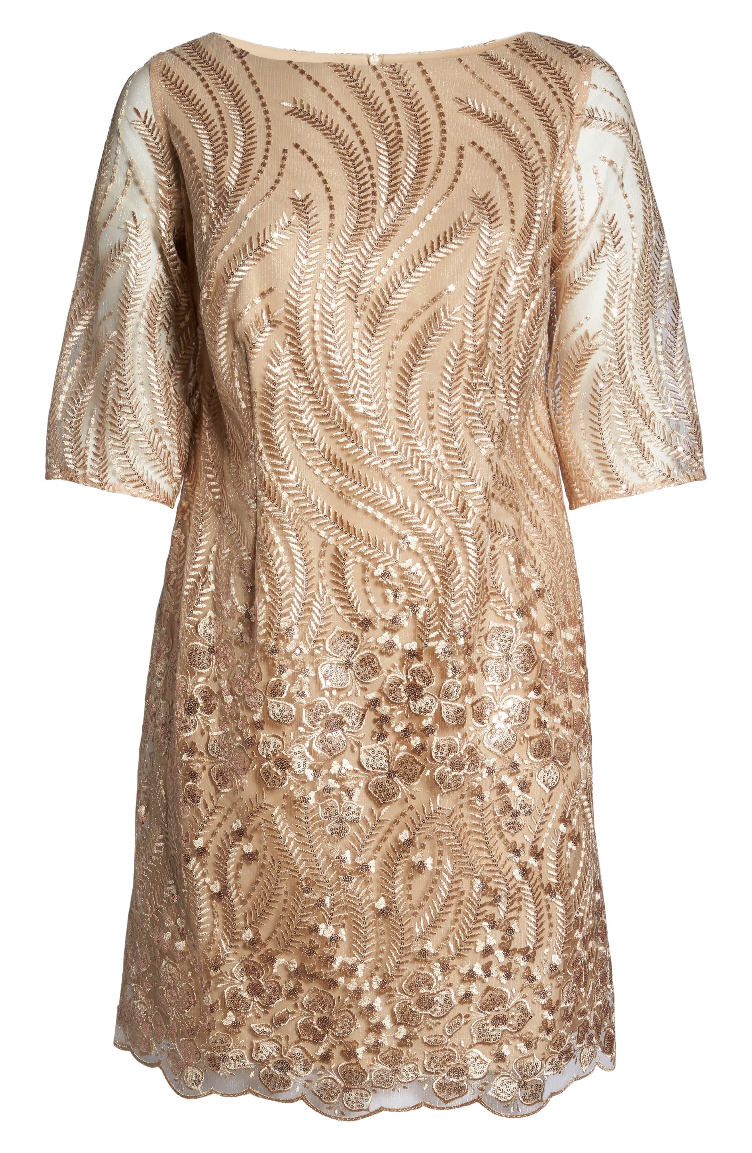 Embellished Sheath Dress,                             Alternate thumbnail 6, color,                             Champagne