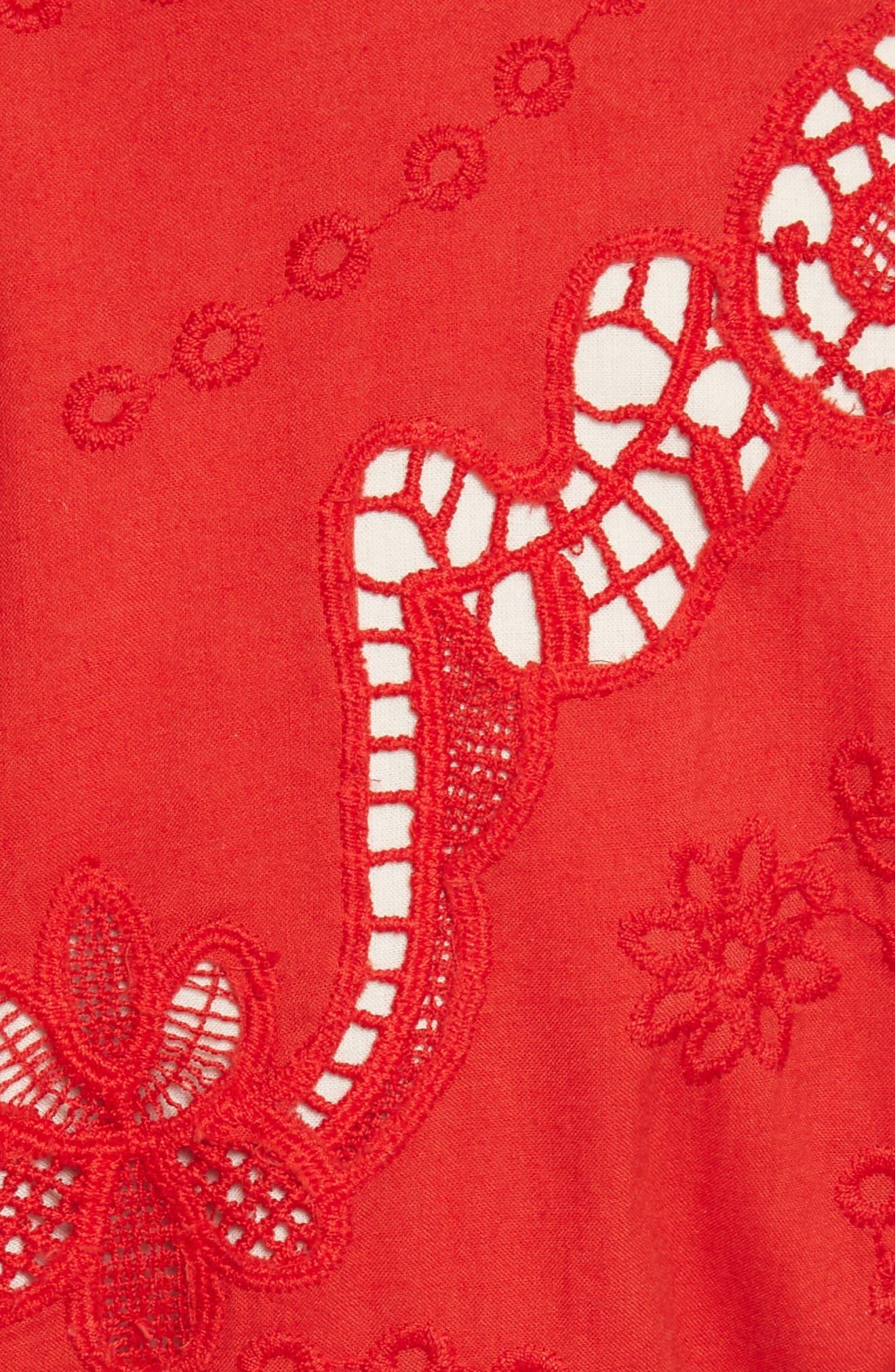 Alternate Image 5  - Alice + Olivia Karen Eyelet Embroidered Party Dress