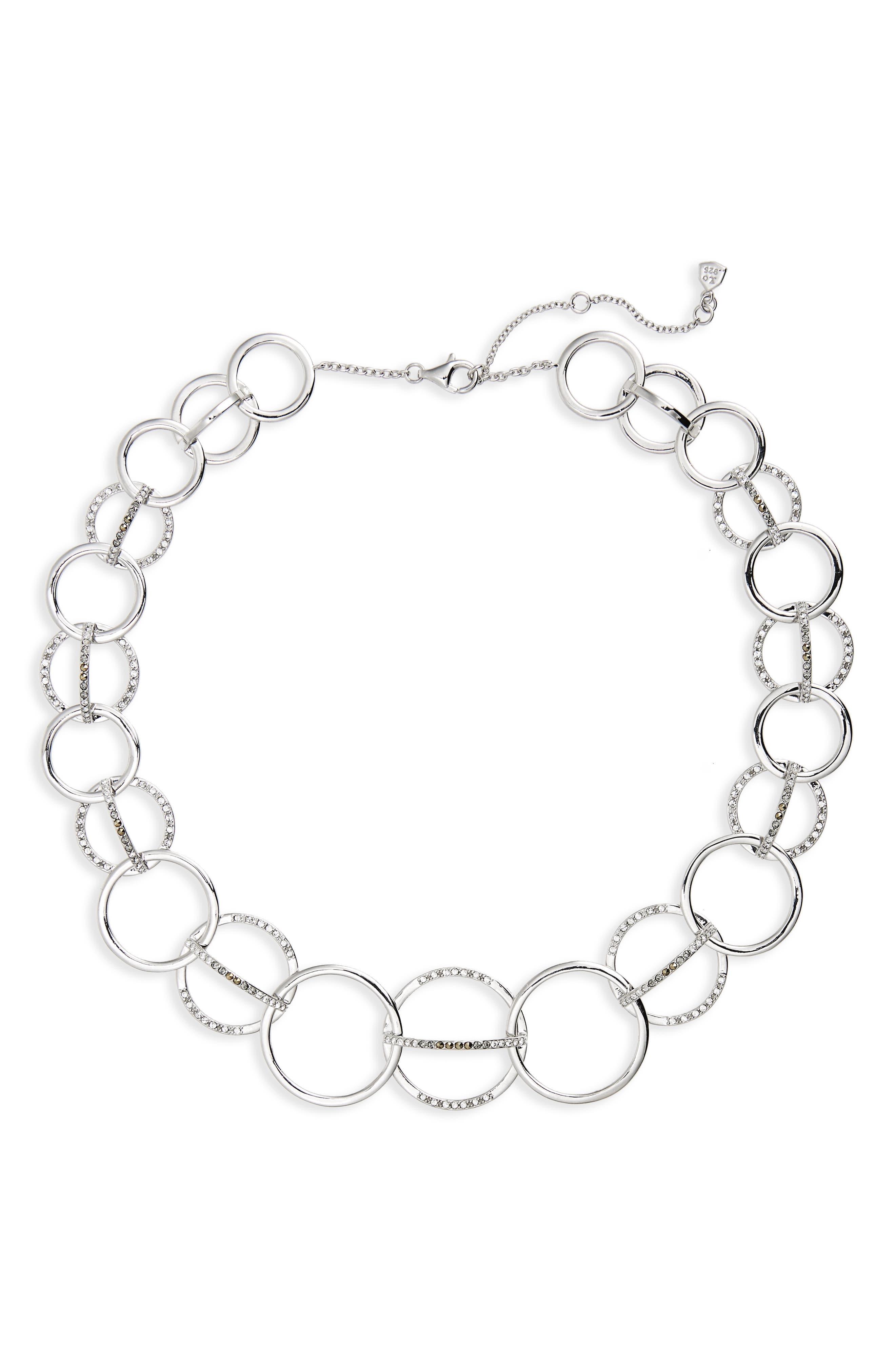 Silver Sparkle Collar Necklace,                             Main thumbnail 1, color,                             Black Diamond/ Marcasite