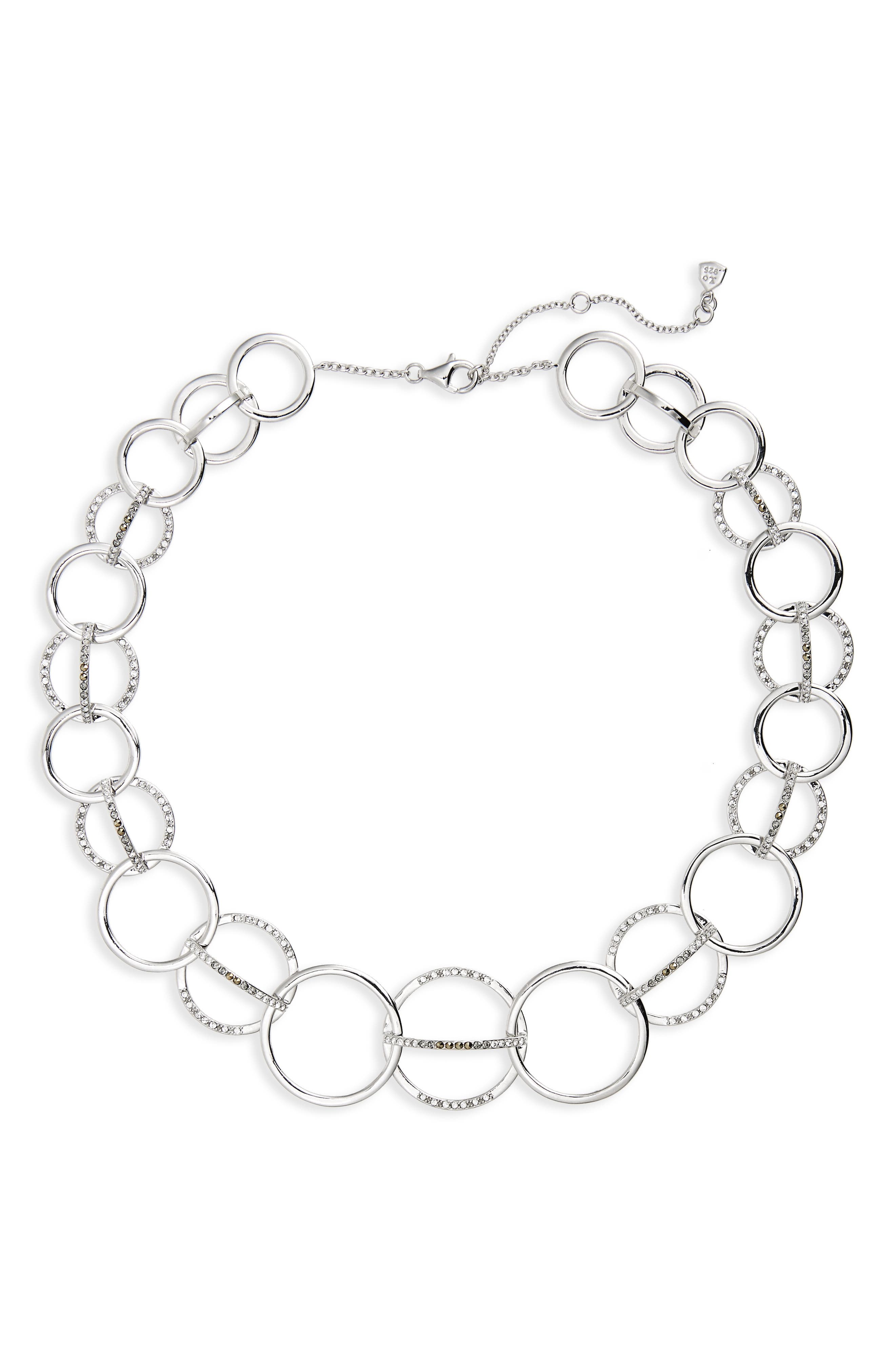 Silver Sparkle Collar Necklace,                         Main,                         color, Black Diamond/ Marcasite