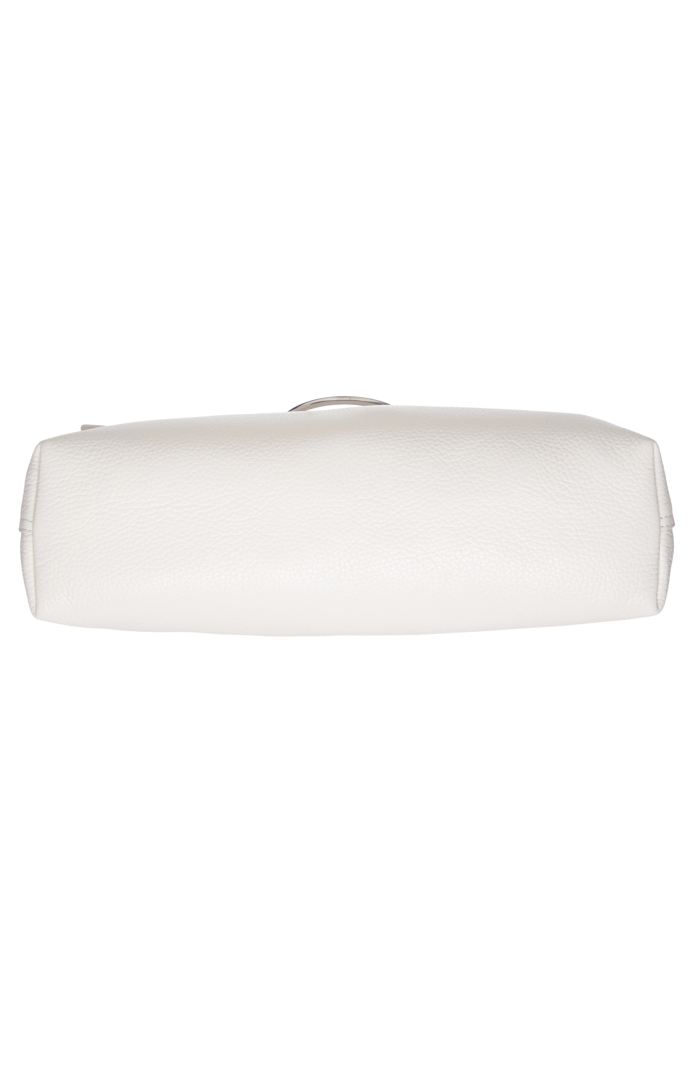 Large Pebbled Leather Ring Clutch,                             Alternate thumbnail 7, color,                             Off White