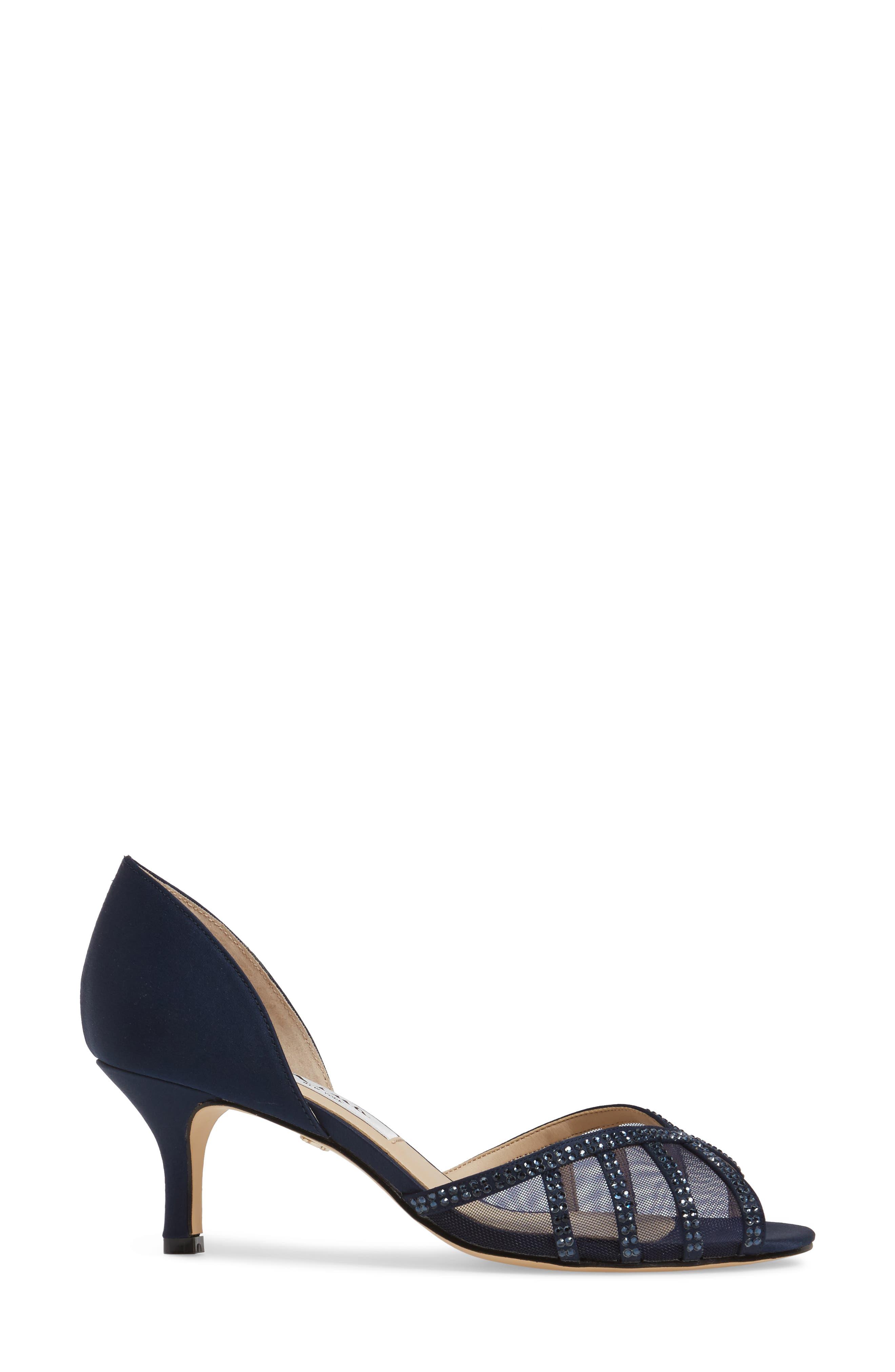 Corita Embellished Mesh Sandal,                             Alternate thumbnail 3, color,                             Blue Satin