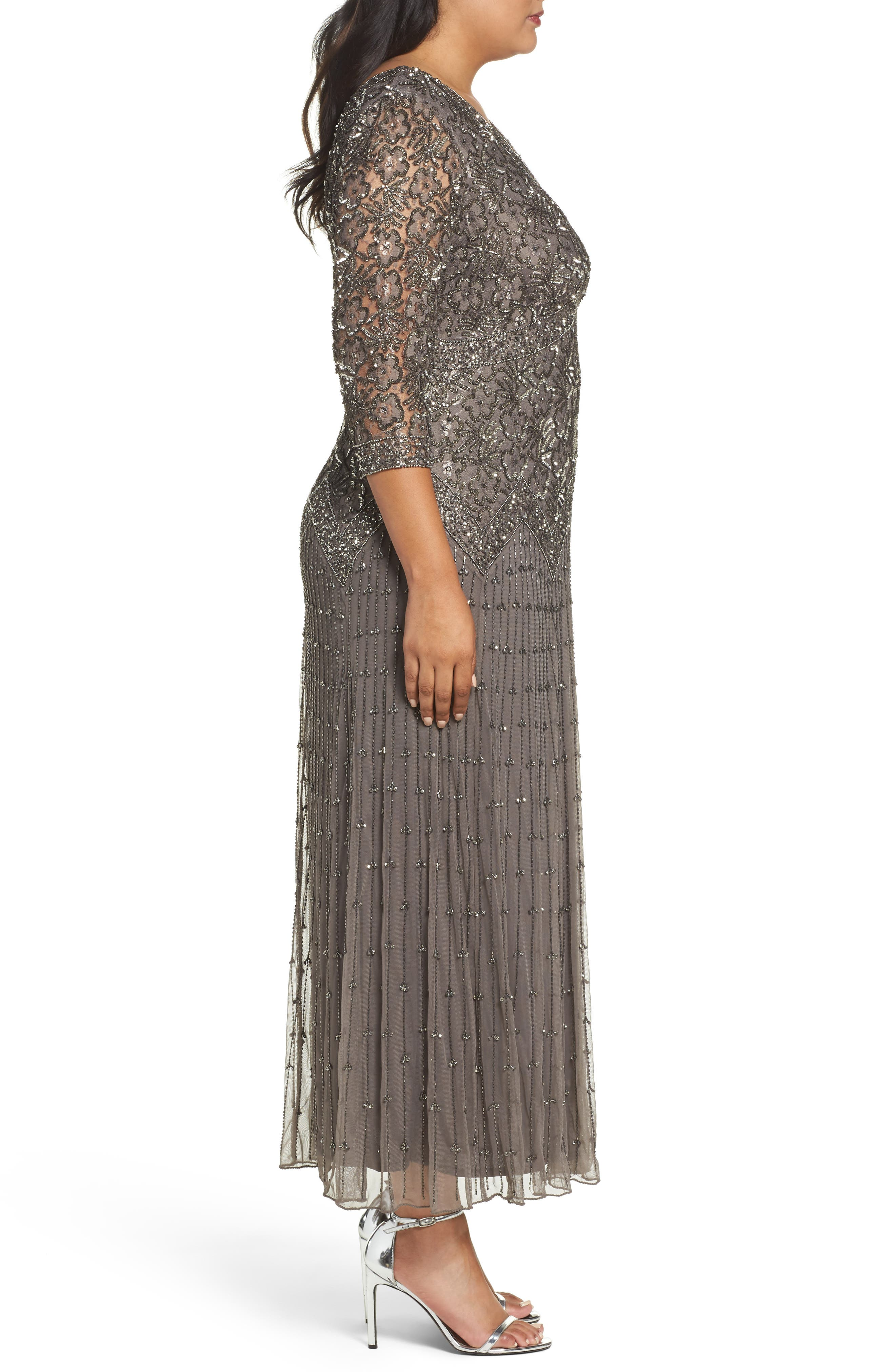 Alternate Image 3  - Pisarro Nights Beaded V-Neck Lace Illusion Gown (Plus Size)