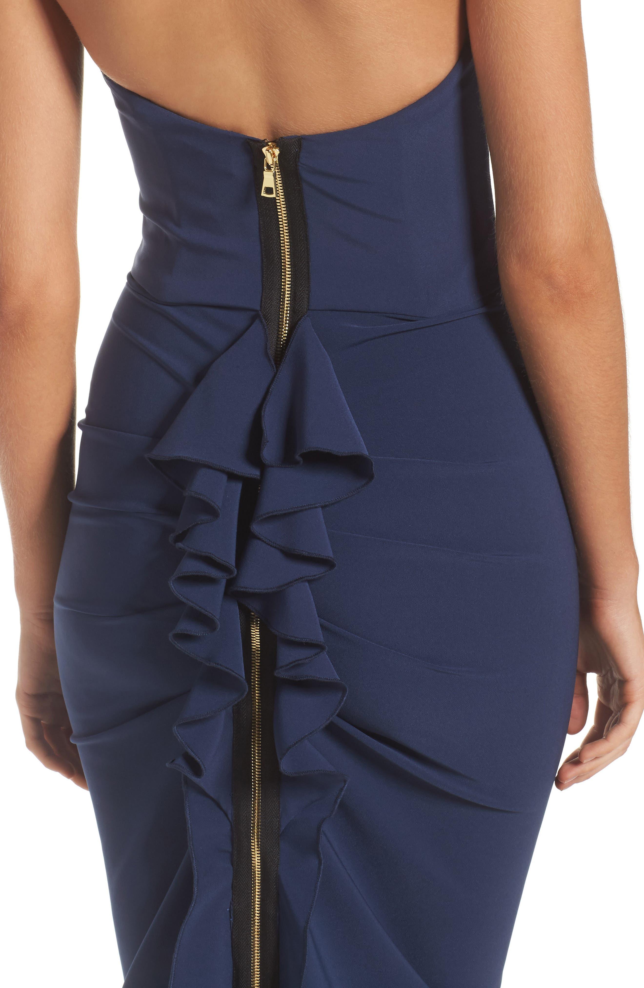 Strapless Ruffle Dress,                             Alternate thumbnail 4, color,                             Navy