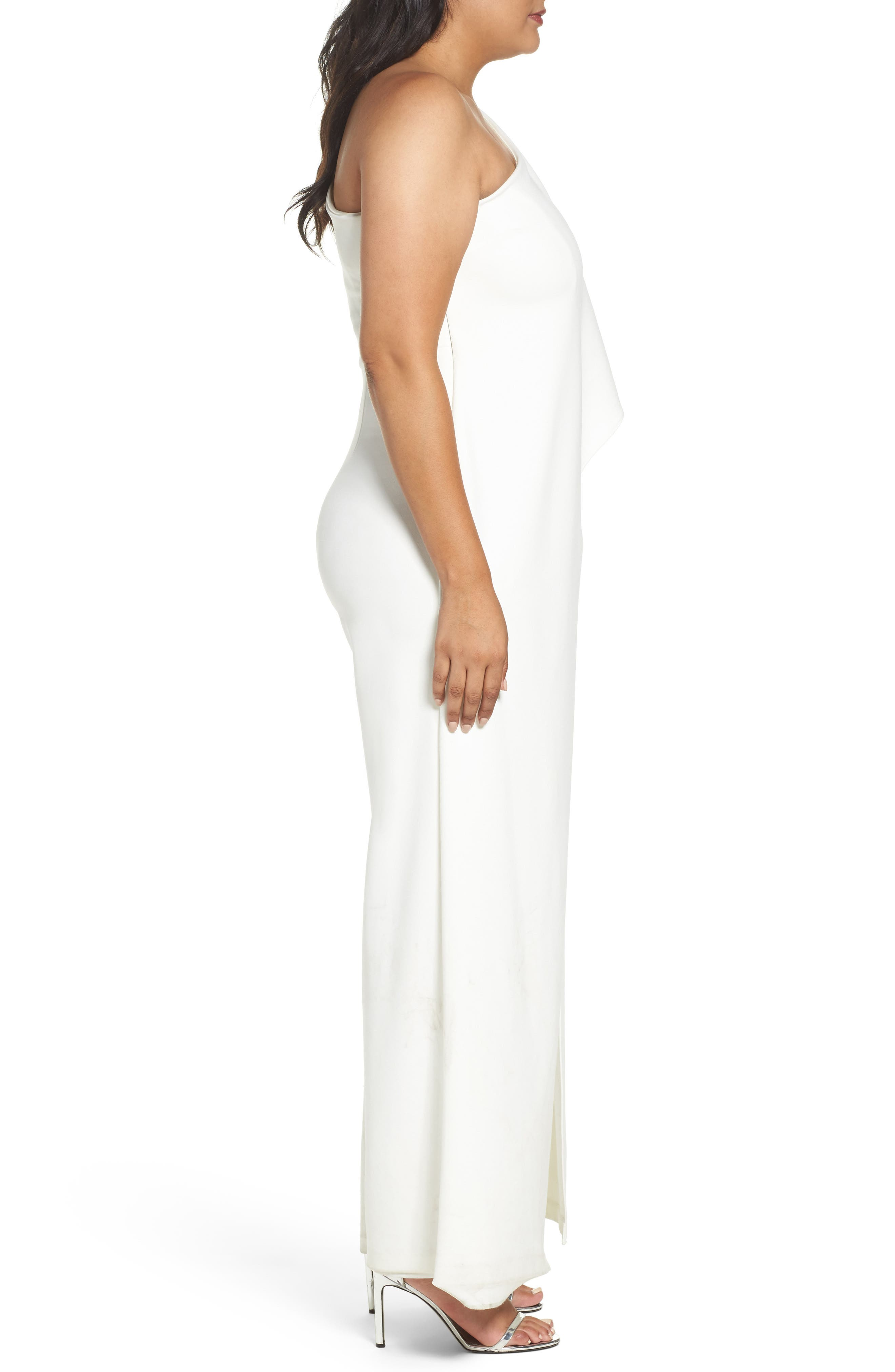 Alternate Image 4  - Adrianna Papell One-Shoulder Jumpsuit (Plus Size)