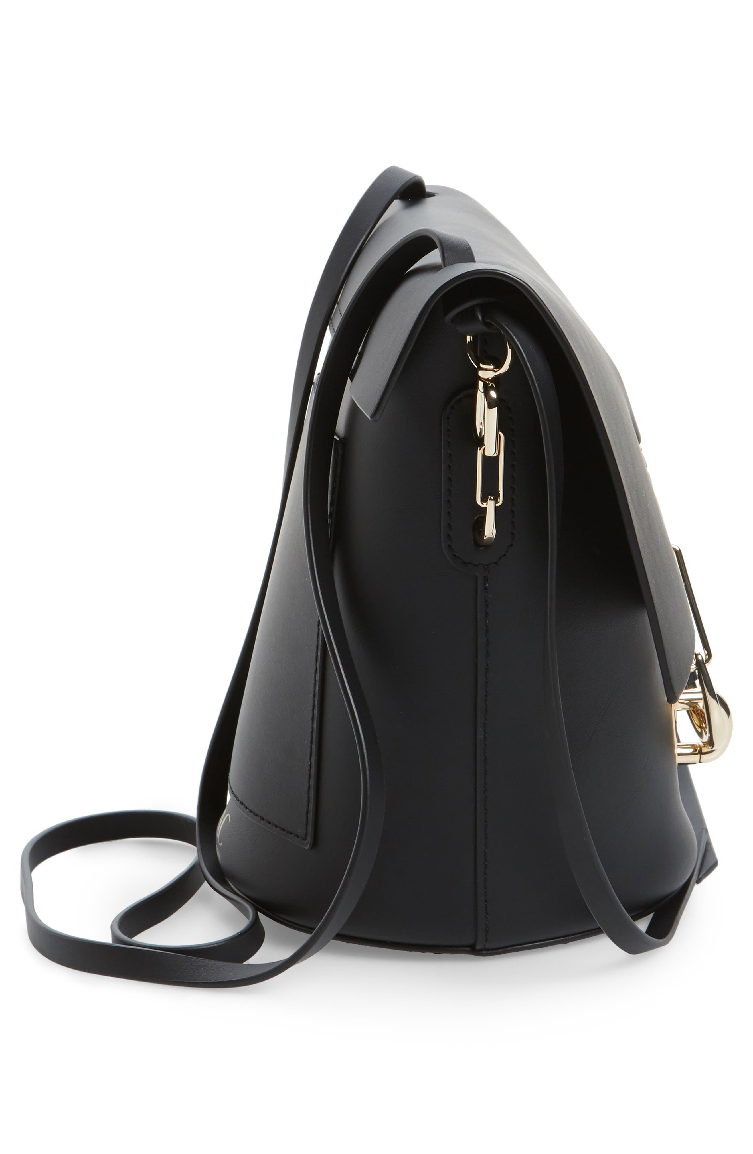 Belay Leather Crossbody Bag,                             Alternate thumbnail 4, color,                             Black