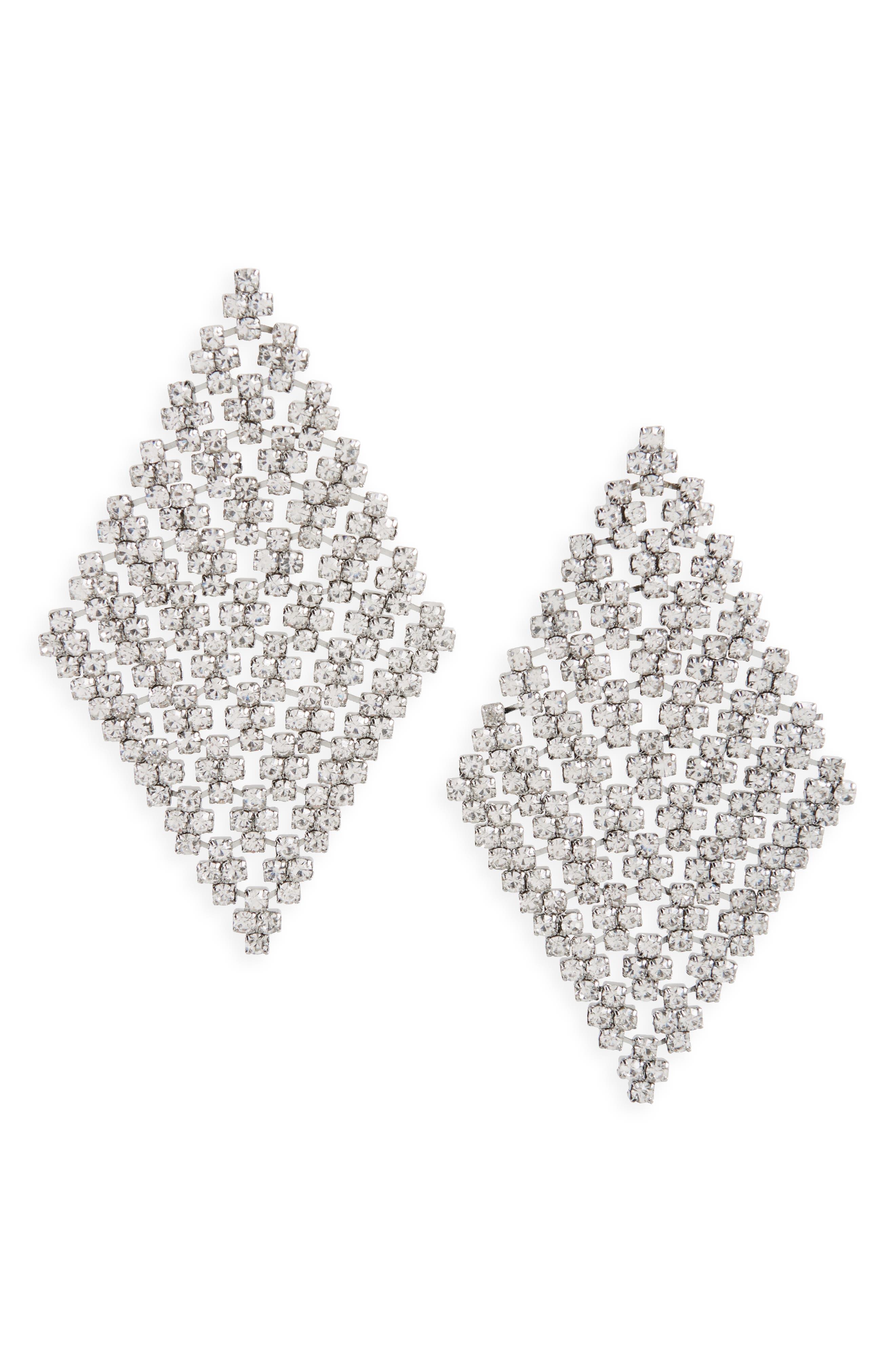 Crystal Mesh Drop Earrings,                         Main,                         color, Silver