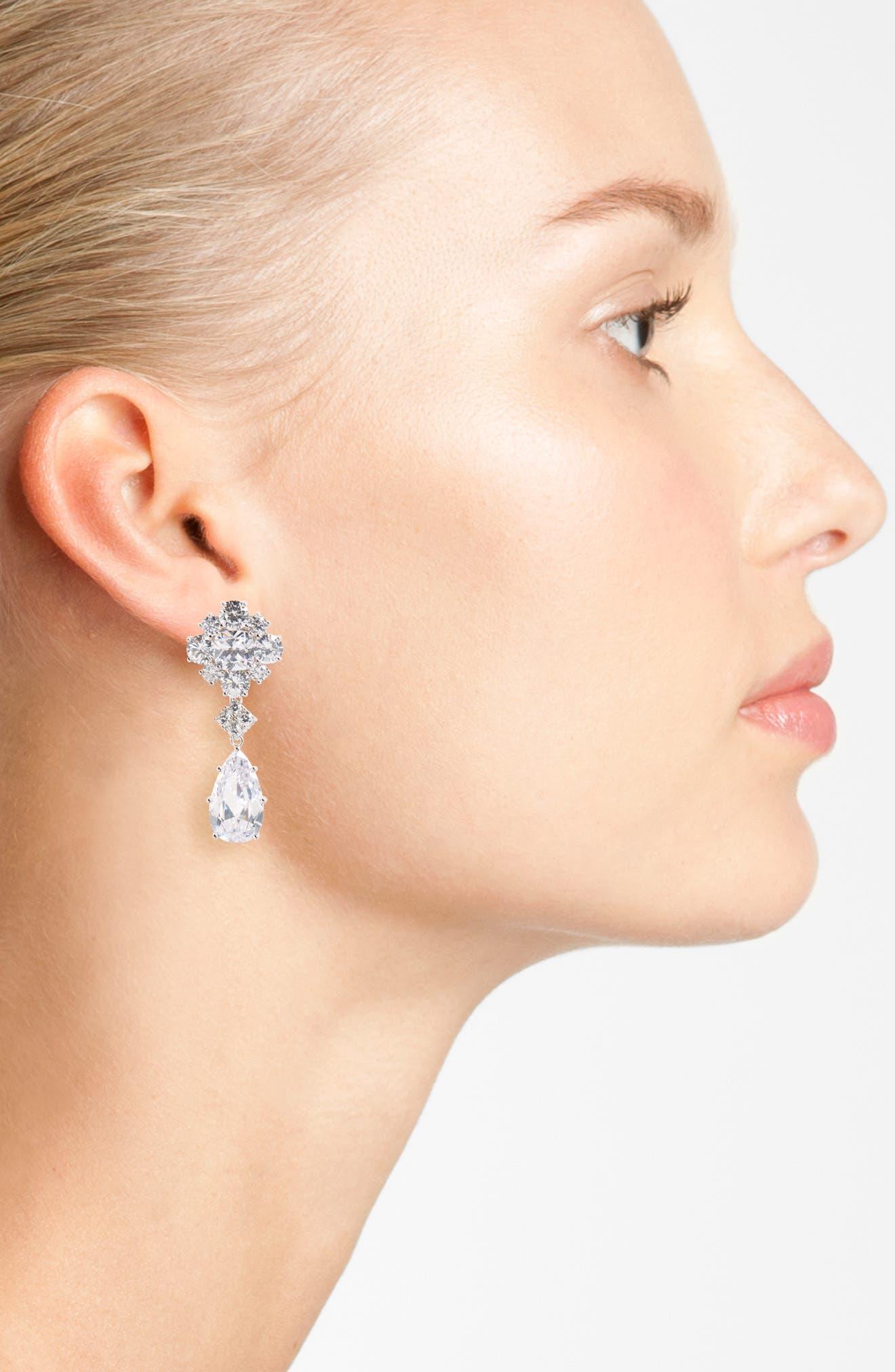 Cluster Drop Earrings,                             Alternate thumbnail 2, color,                             Silver