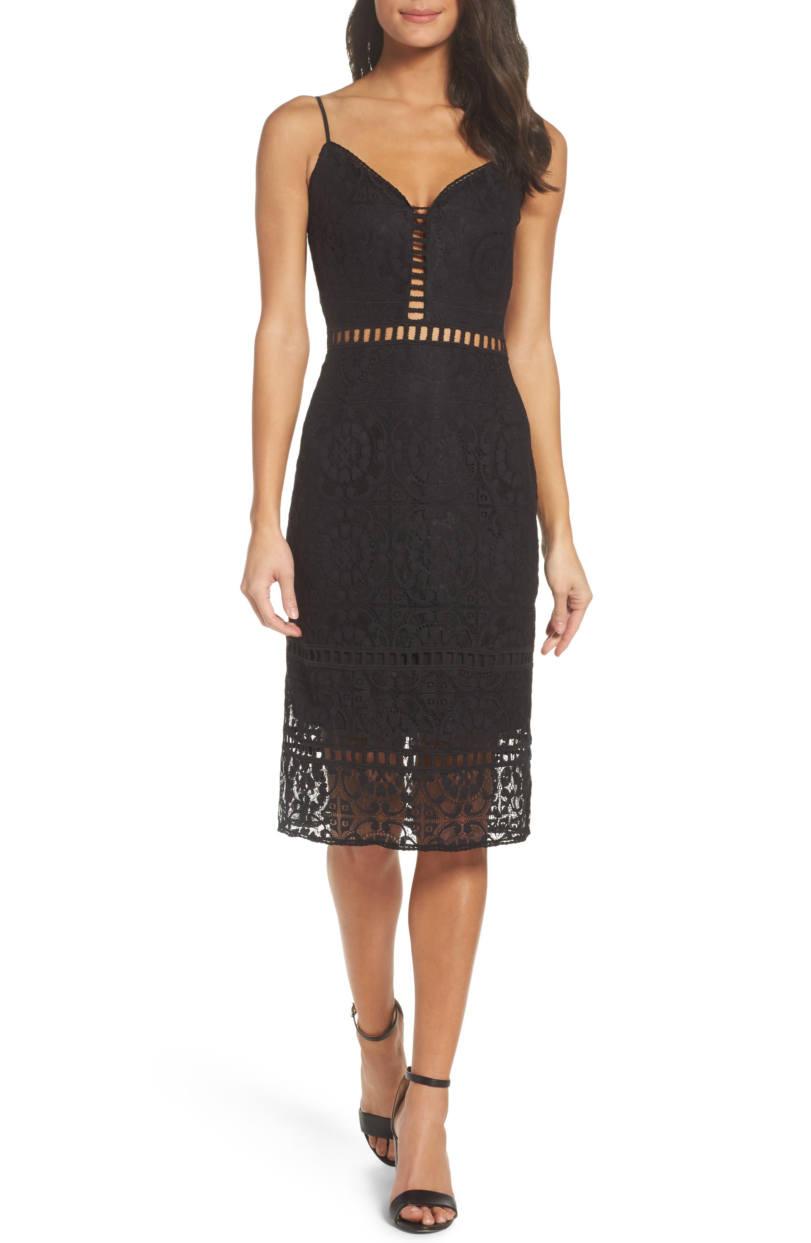 Cotton Blend Sheath Dress,                         Main,                         color, Black