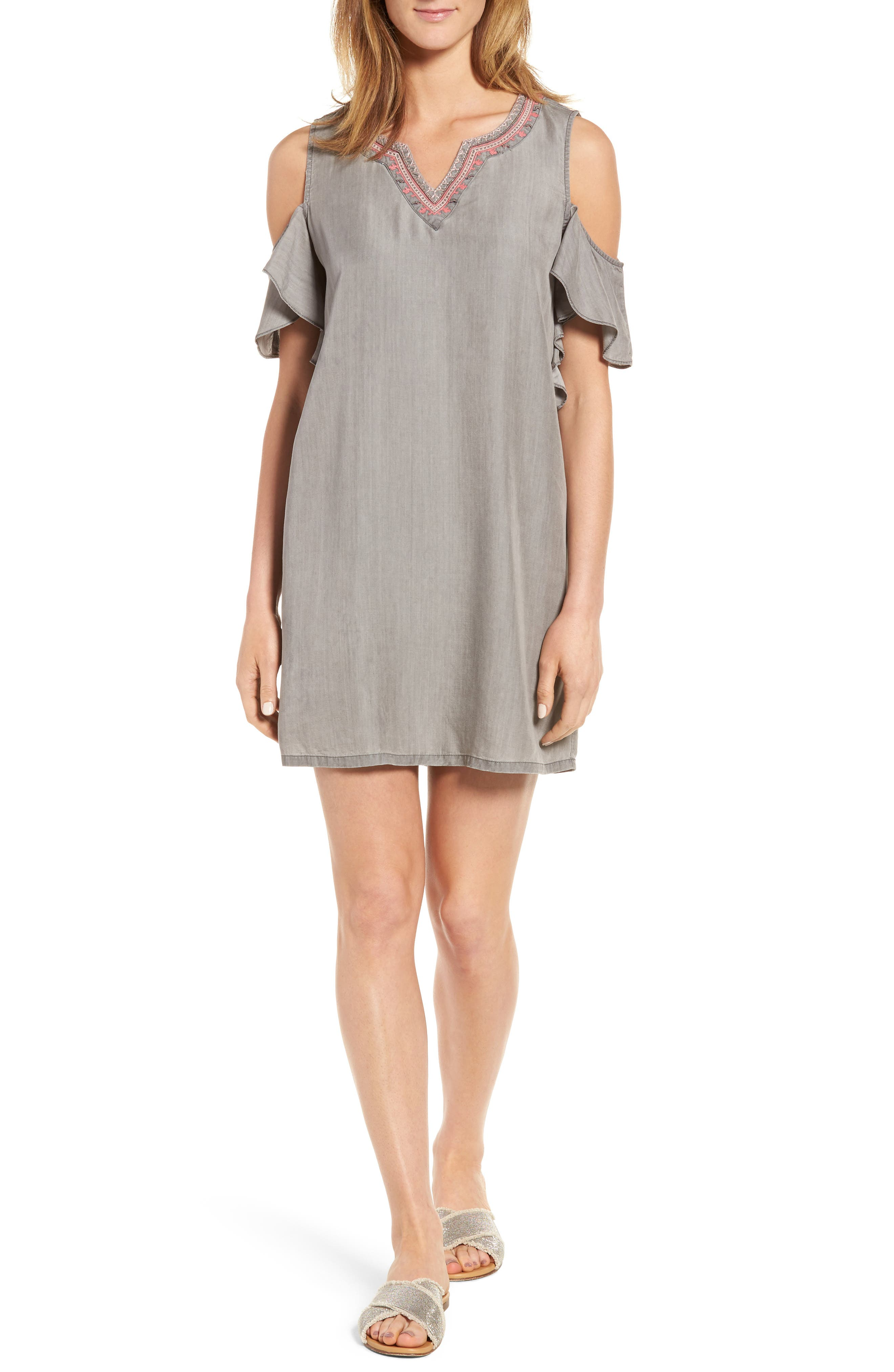 BILLY T Embellished Cold Shoulder Chambray Shift Dress
