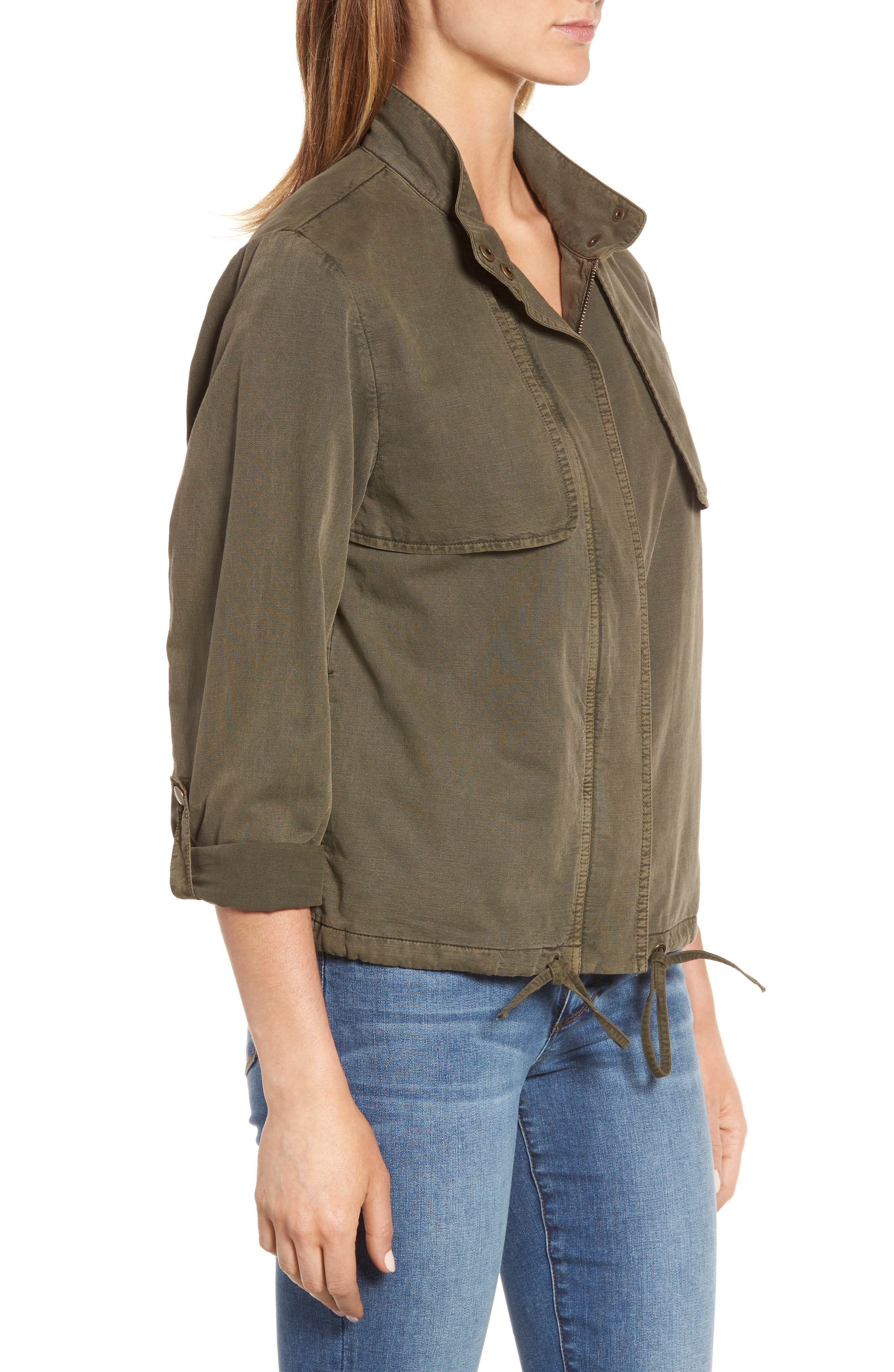 Drawstring Hem Utility Jacket,                             Alternate thumbnail 3, color,                             Olive Tarmac