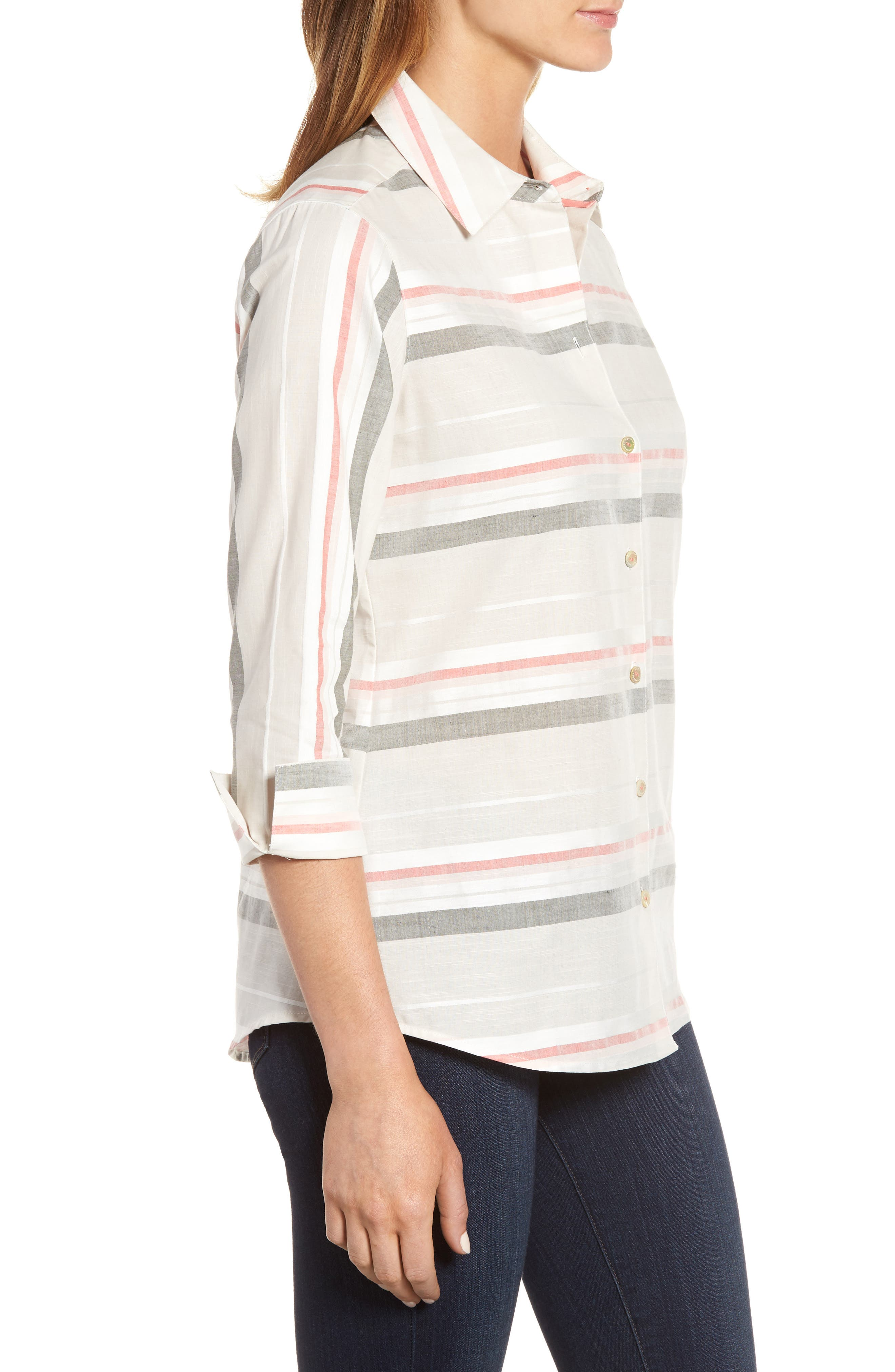 Alternate Image 3  - Foxcroft Fia Stripe Cotton & Linen Shirt (Regular & Petite)