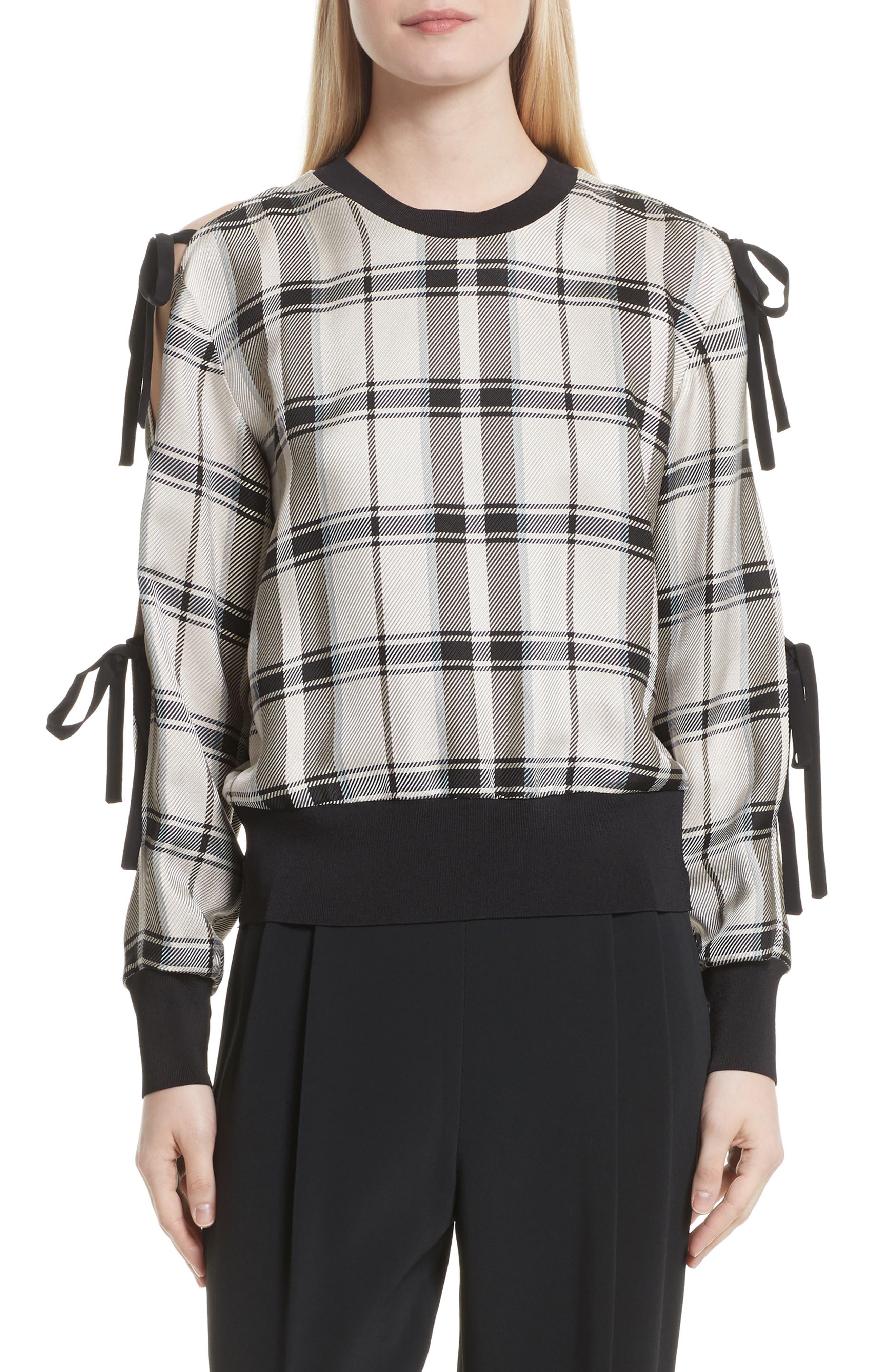 Tie Sleeve Check Pullover,                             Main thumbnail 1, color,                             Cream/ Black