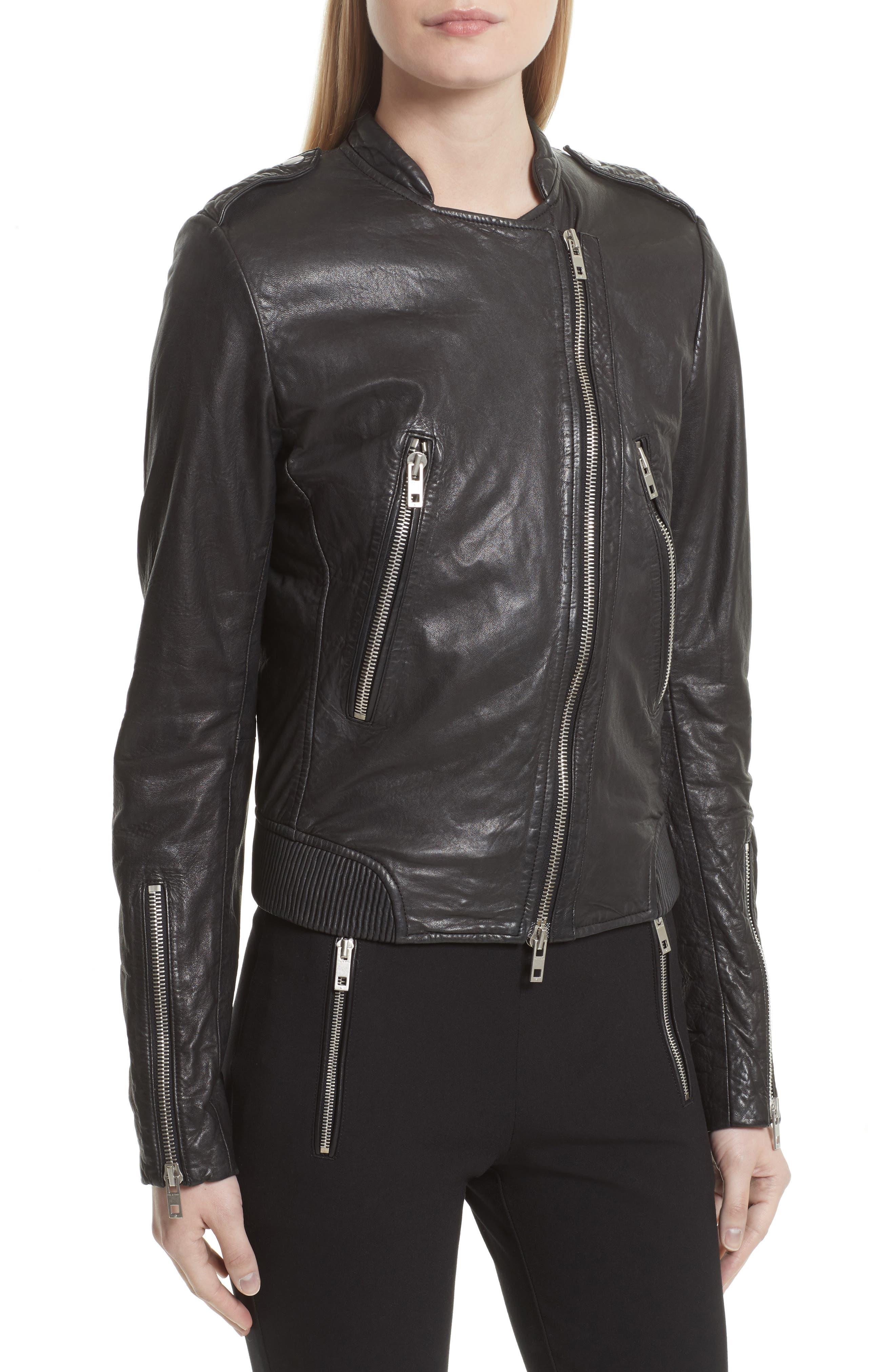 Lyon Leather Jacket,                             Alternate thumbnail 4, color,                             Black