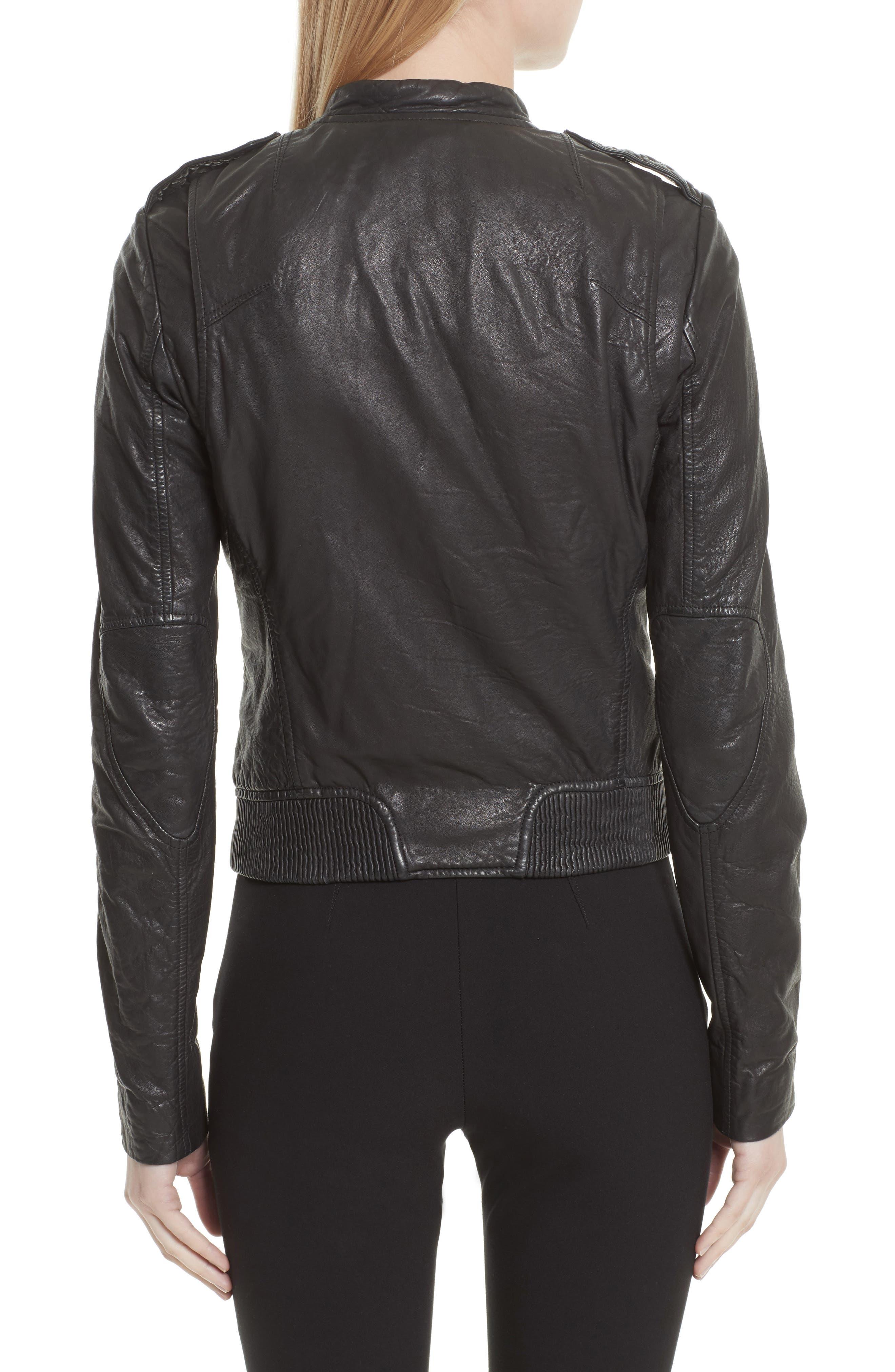 Lyon Leather Jacket,                             Alternate thumbnail 2, color,                             Black