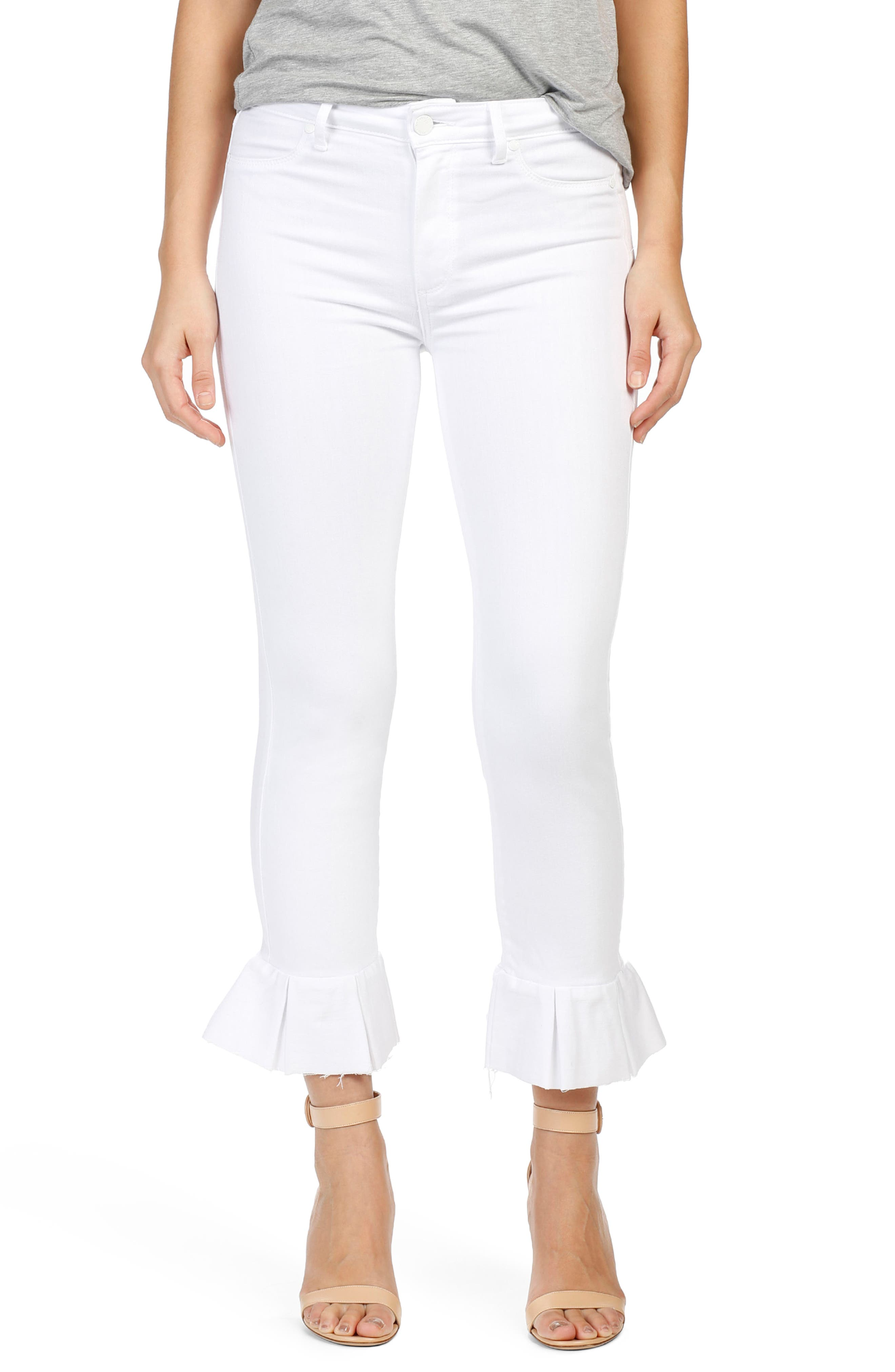 Alternate Image 1 Selected - PAIGE Rafaela High Waist Raw Hem Ankle Ultra Skinny Jeans (Optic White)