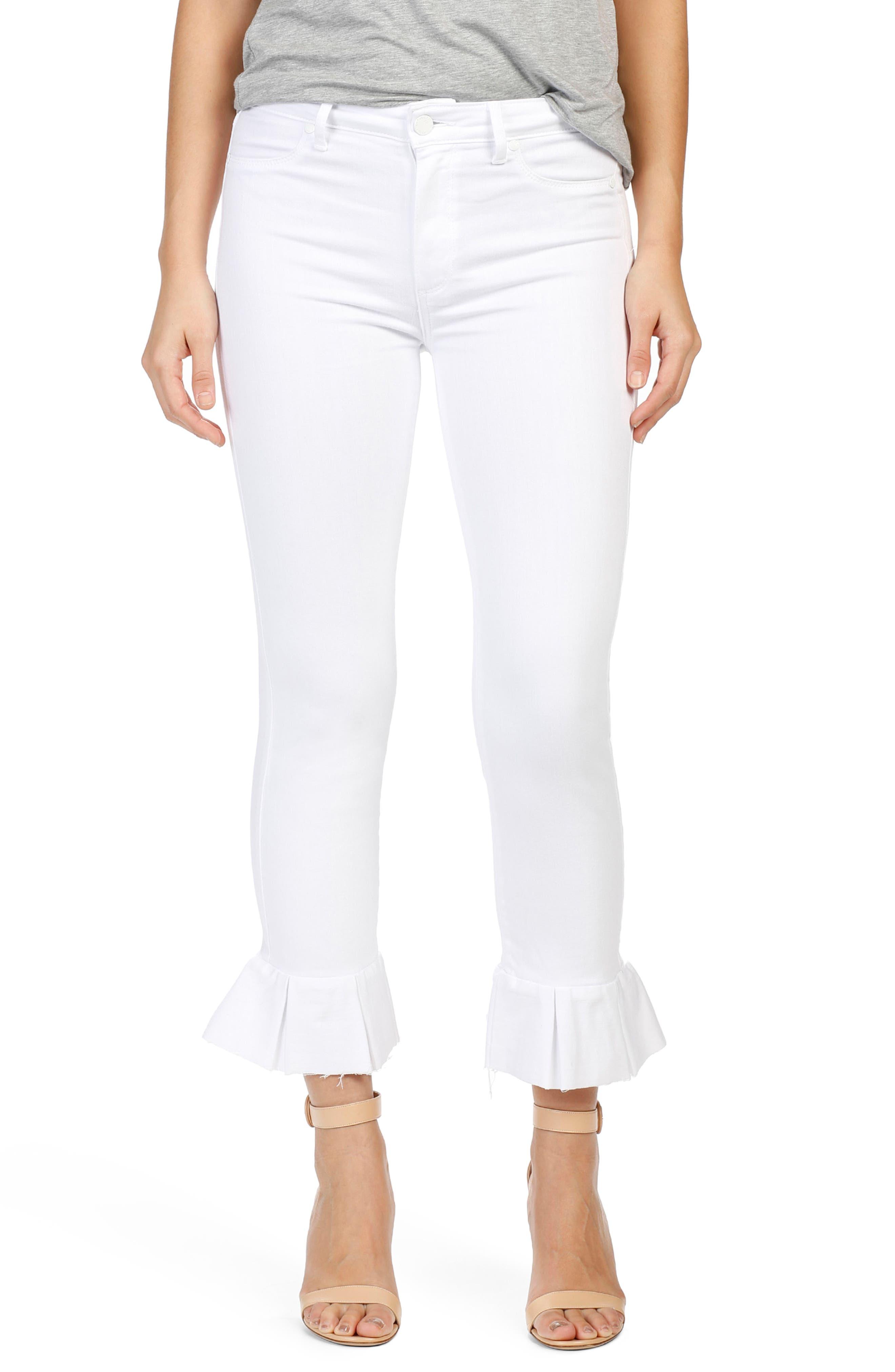 Main Image - PAIGE Rafaela High Waist Raw Hem Ankle Ultra Skinny Jeans (Optic White)