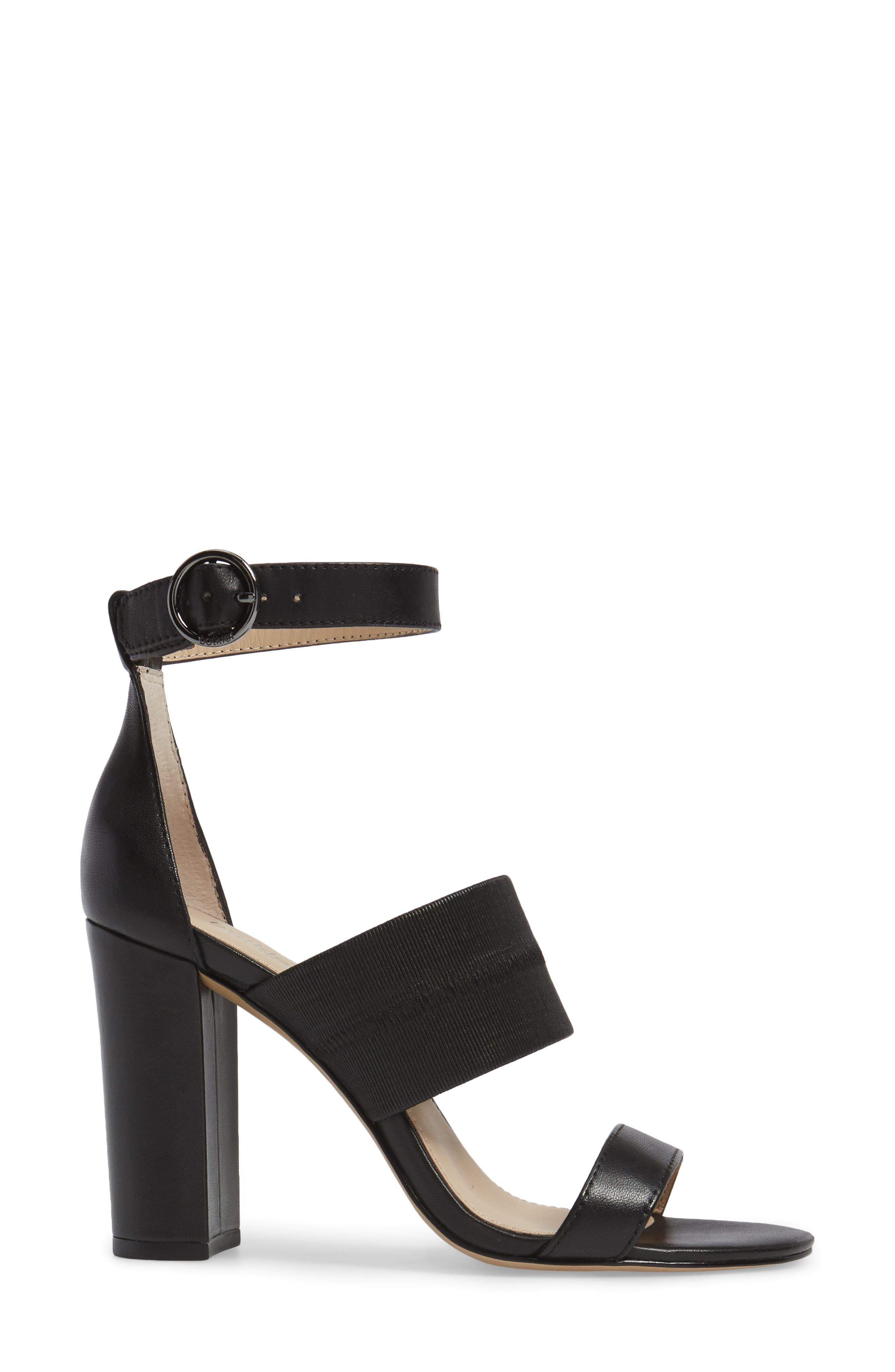 Gisella Ankle Strap Sandal,                             Alternate thumbnail 3, color,                             Black Leather