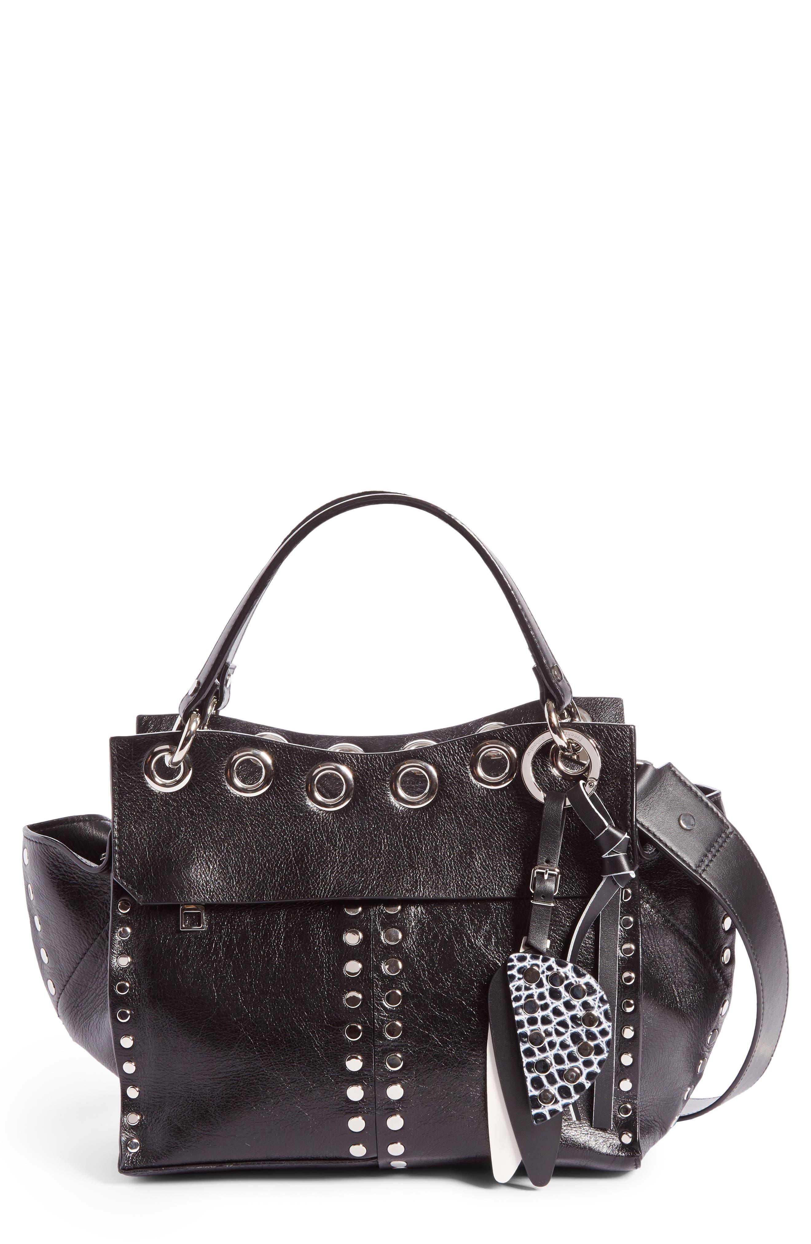 Curl Studded Leather Shoulder Bag,                         Main,                         color, Black