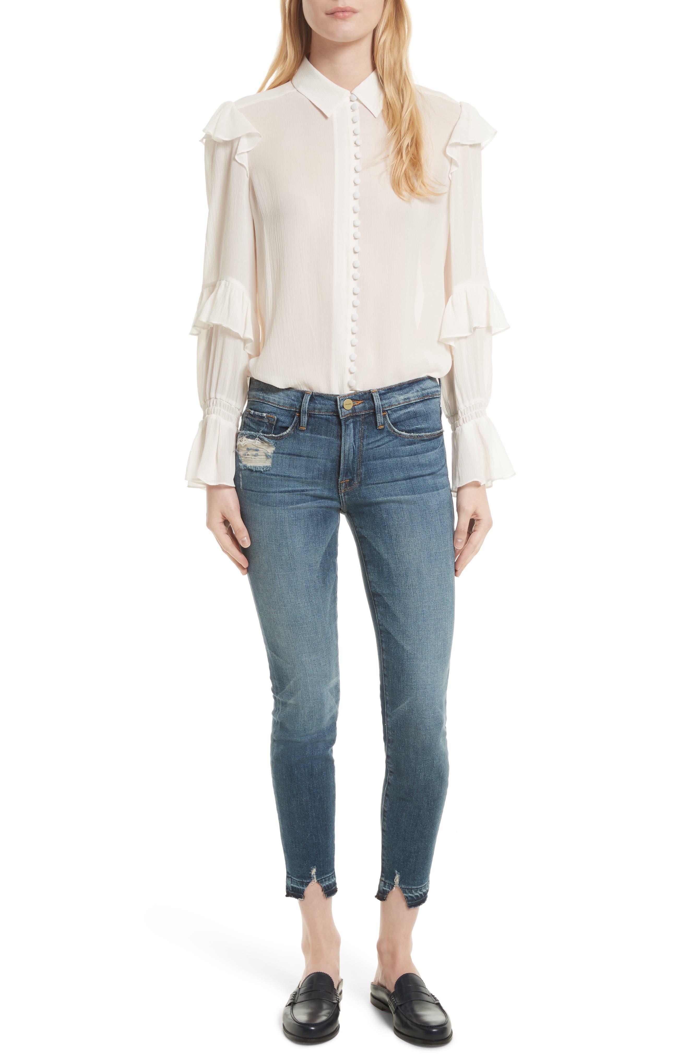 Alternate Image 2  - FRAME Le Skinny de Jeanne Crop Release Hem Jeans (Roberts) (Nordstrom Exclusive)