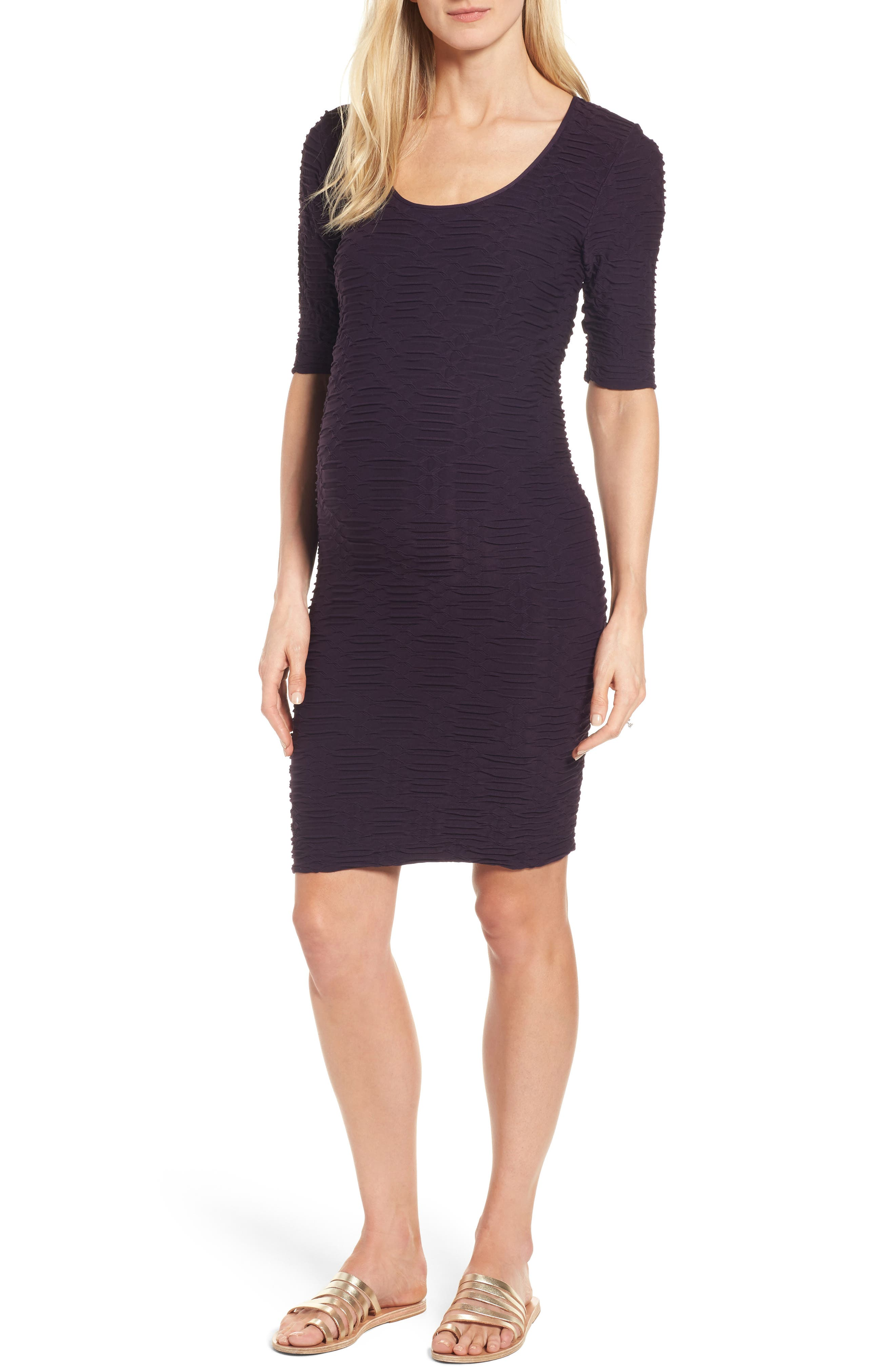 Alternate Image 1 Selected - Tees by Tina Monaco Crinkle Maternity Sheath Dress