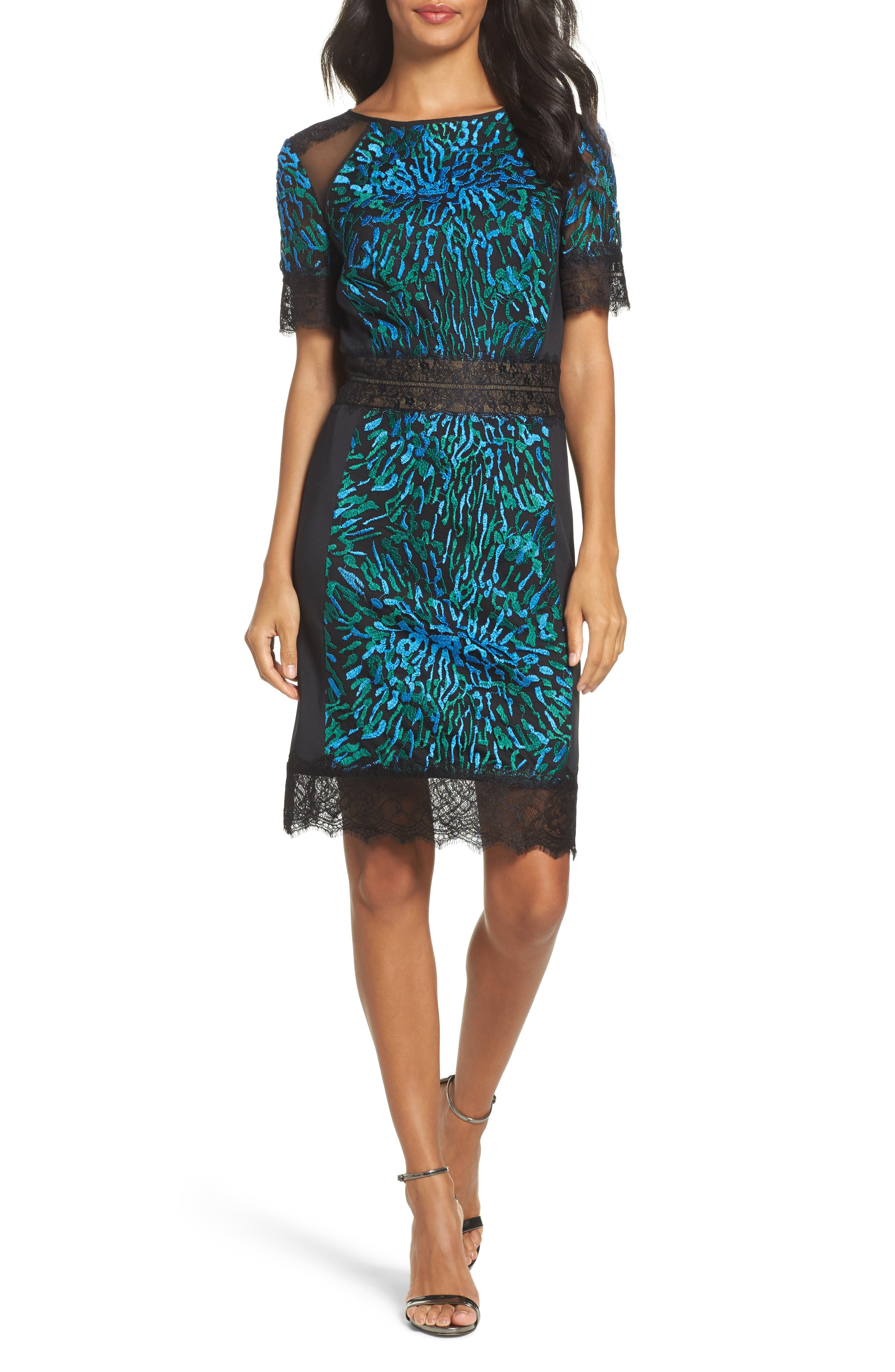 Illusion Lace & Embroidered Mesh Sheath Dress,                             Main thumbnail 1, color,                             Deep Ocean/ Black