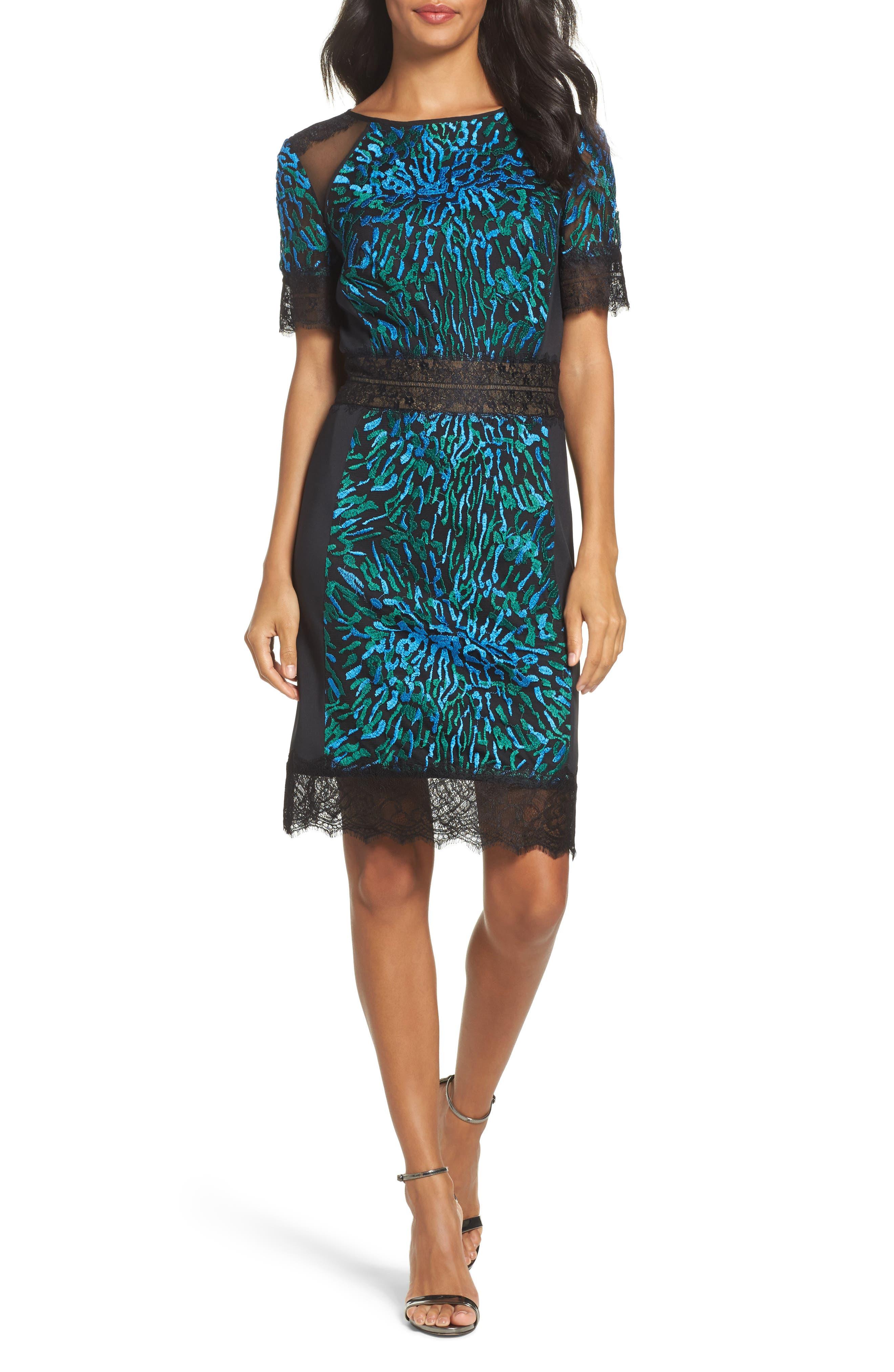 Illusion Lace & Embroidered Mesh Sheath Dress,                         Main,                         color, Deep Ocean/ Black