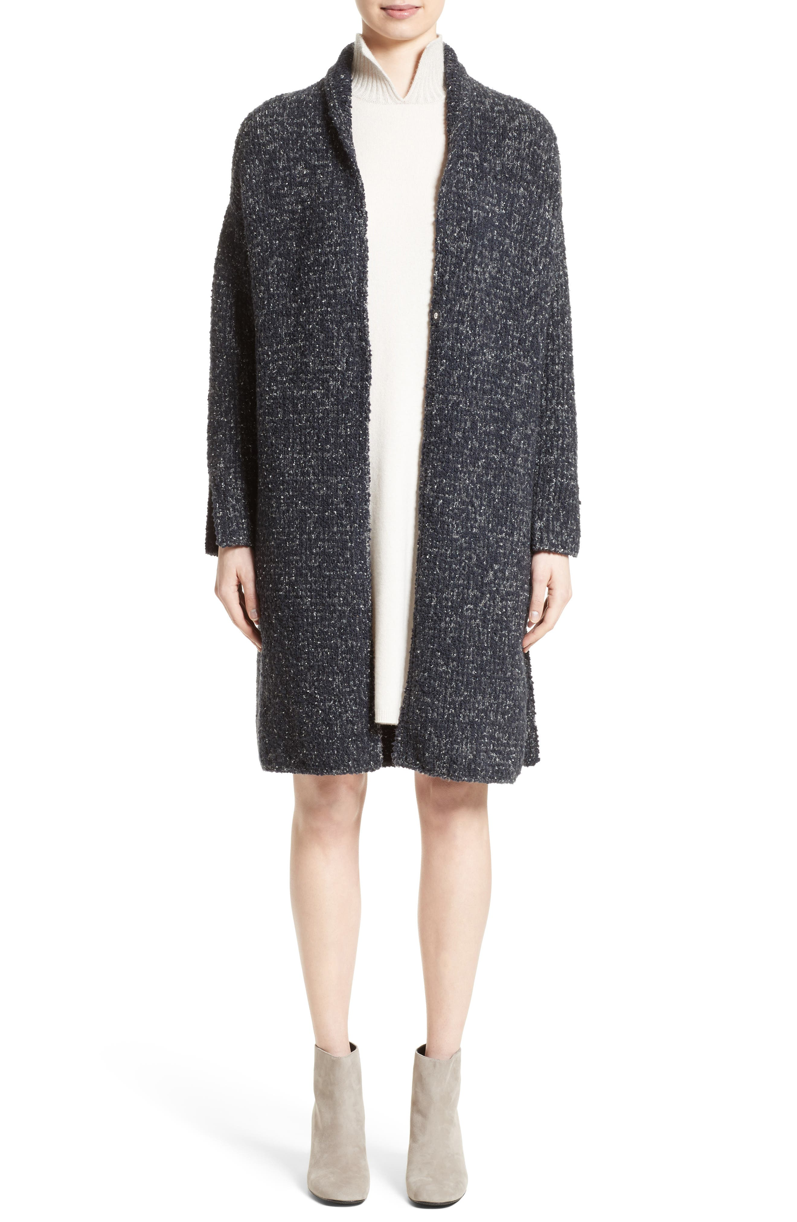 Wool Blend Bouclé Long Cardigan,                             Alternate thumbnail 8, color,                             Grey Multi