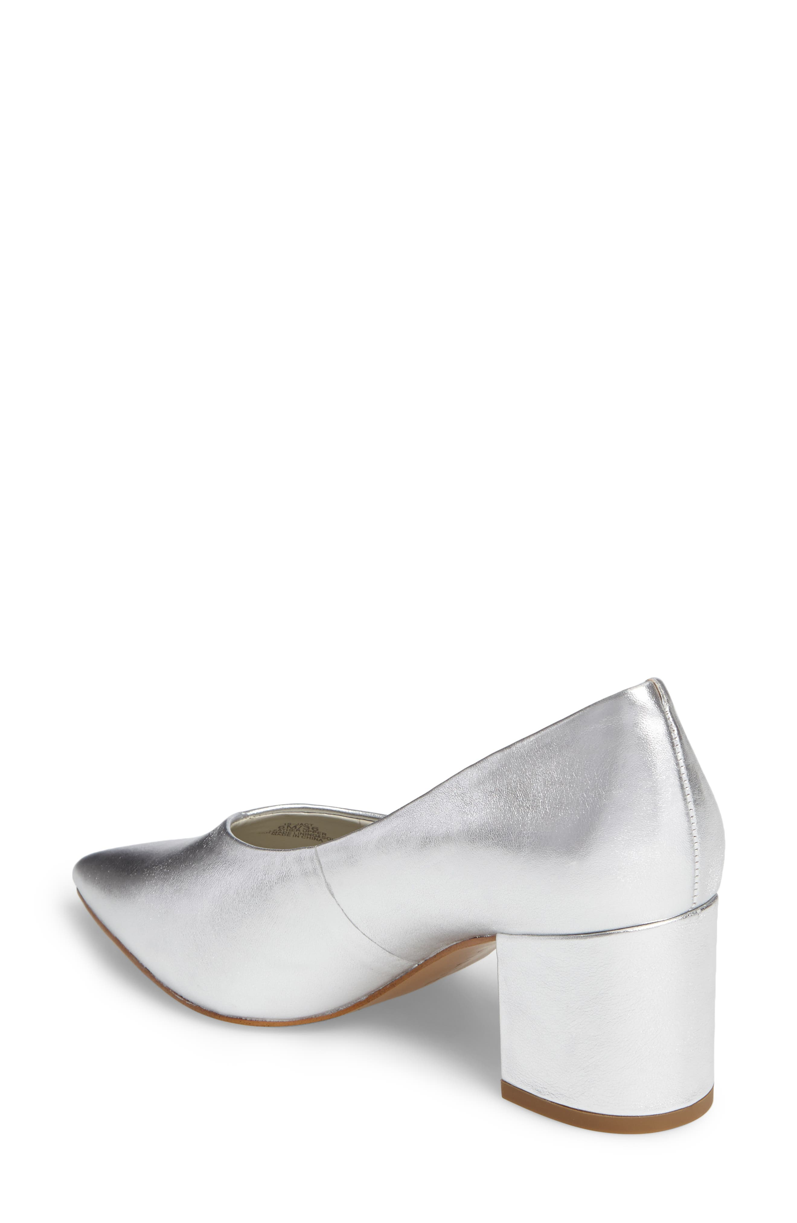 Jact Pointy Toe Pump,                             Alternate thumbnail 2, color,                             Bright Silver Leather