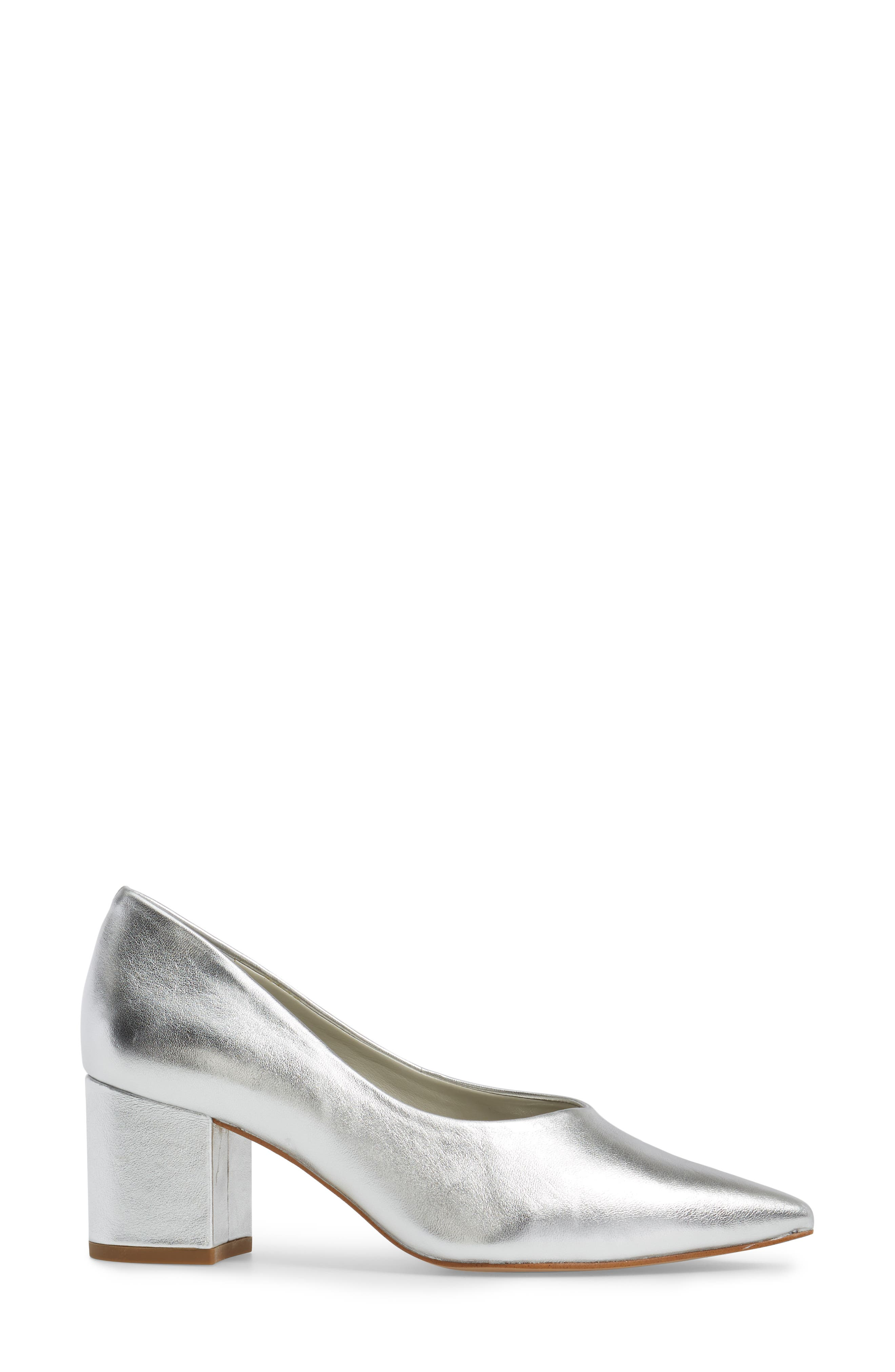 Jact Pointy Toe Pump,                             Alternate thumbnail 3, color,                             Bright Silver Leather