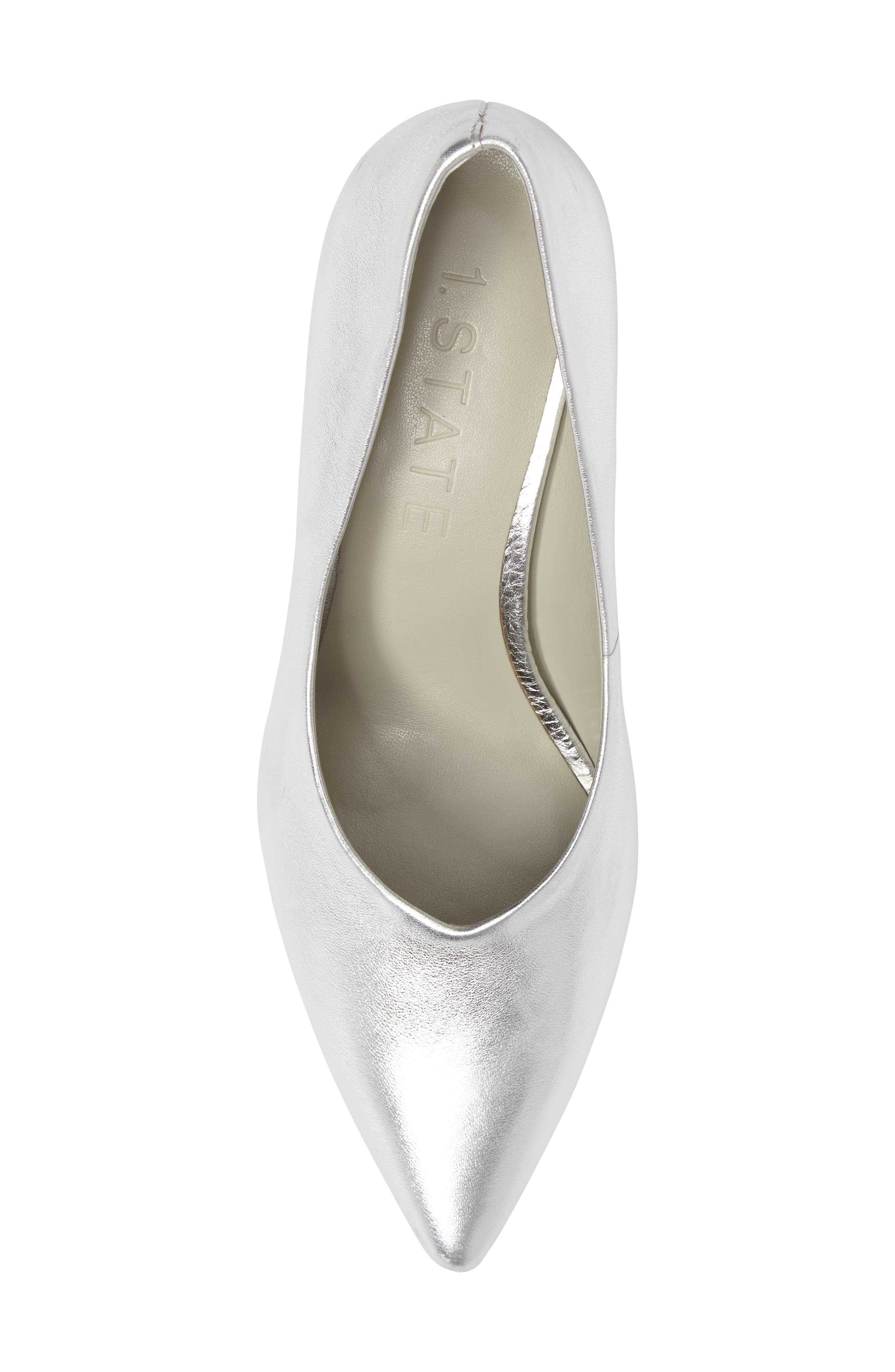 Jact Pointy Toe Pump,                             Alternate thumbnail 5, color,                             Bright Silver Leather