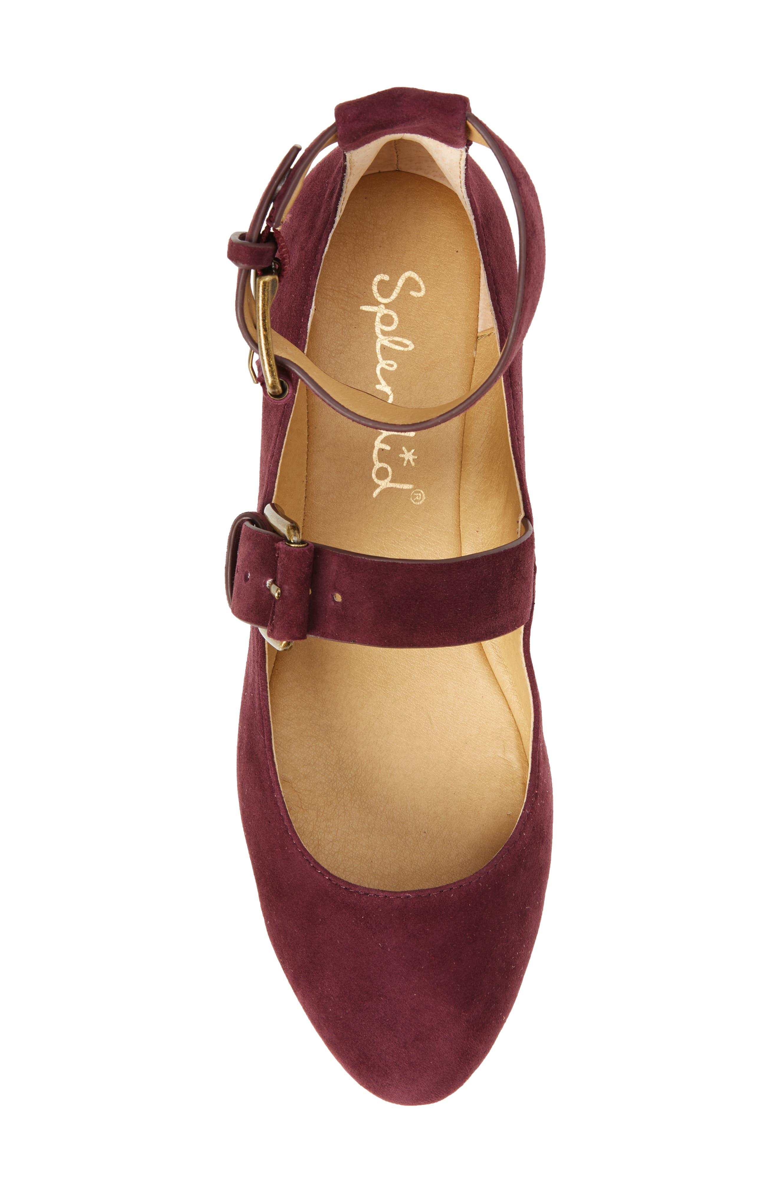 Dalenna Ankle Strap Ballet Flat,                             Alternate thumbnail 5, color,                             Wine Suede