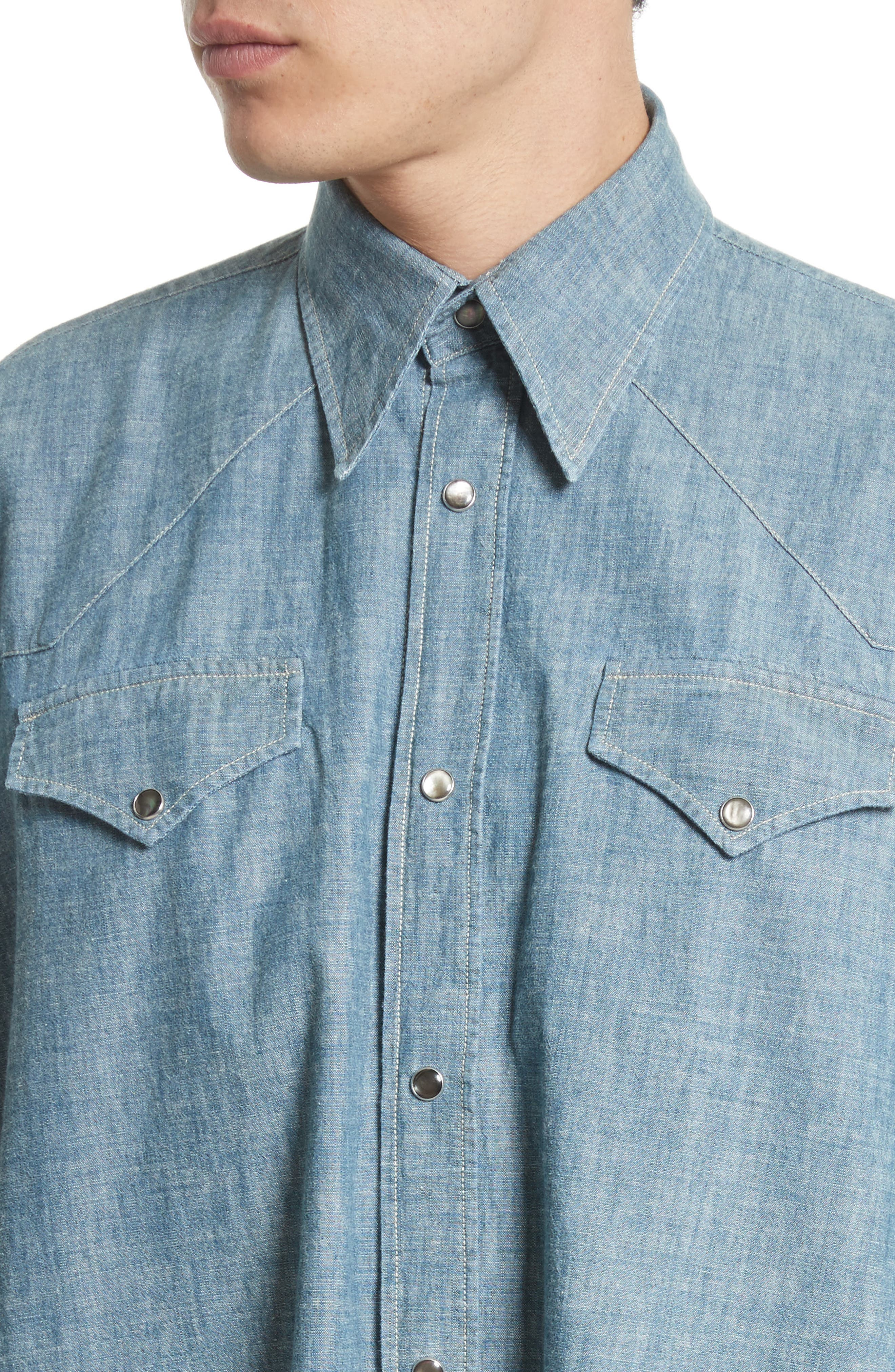 Oversize Chambray Snap Front Shirt,                             Alternate thumbnail 4, color,                             Blue