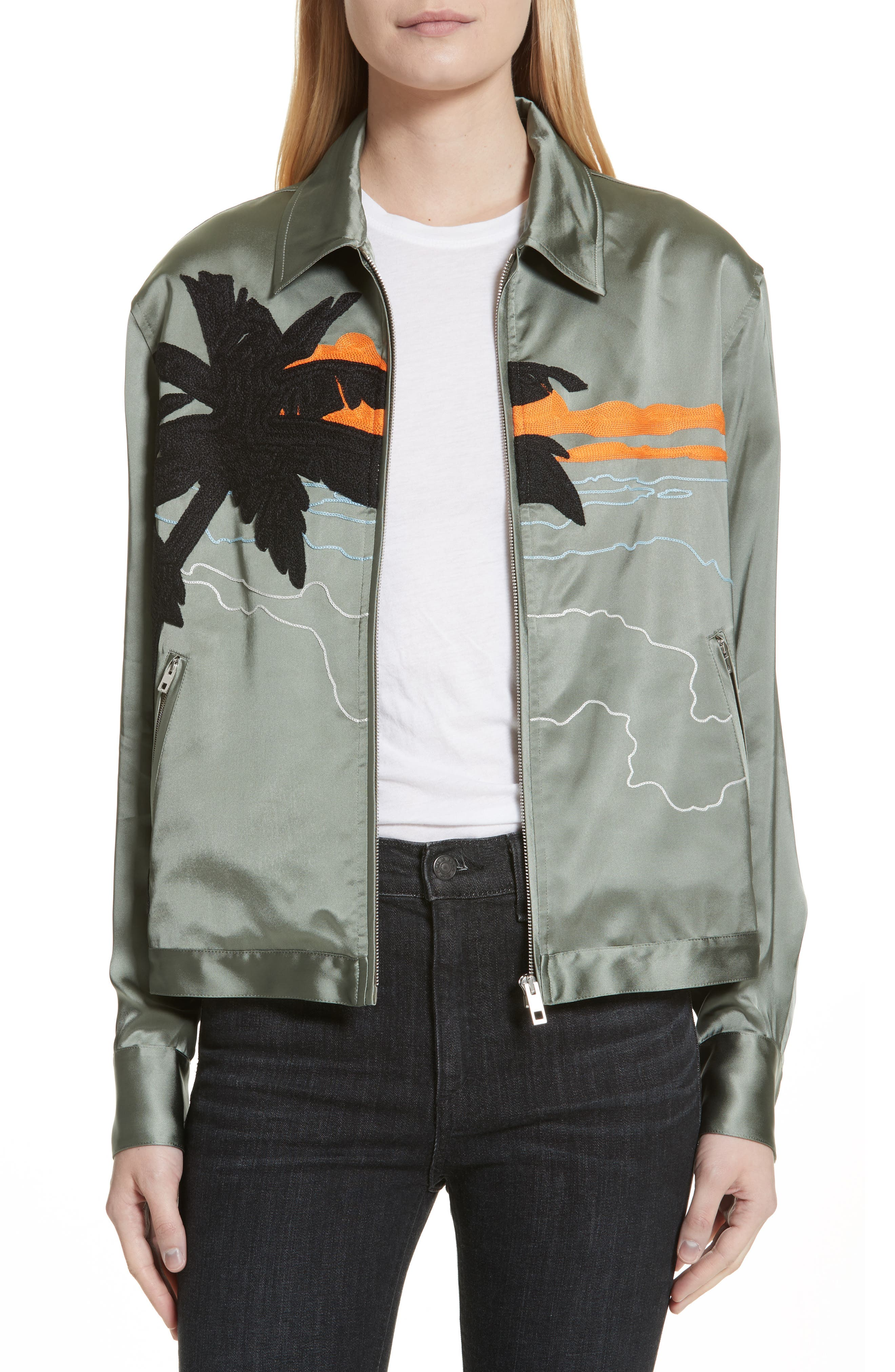 Main Image - rag & bone Roth Embroidered Satin Jacket