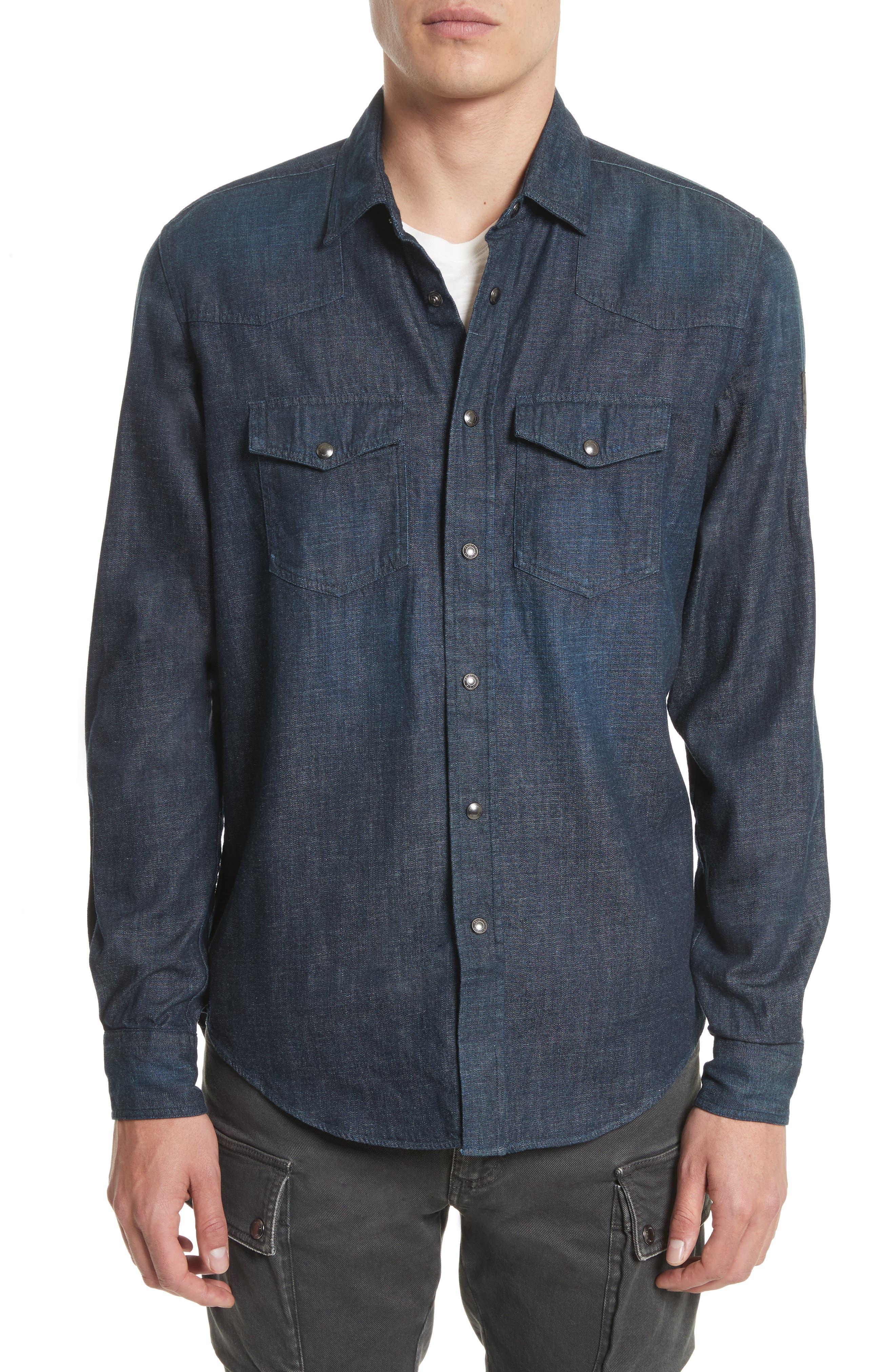 Somerford Denim Sport Shirt,                         Main,                         color, Dark Blue
