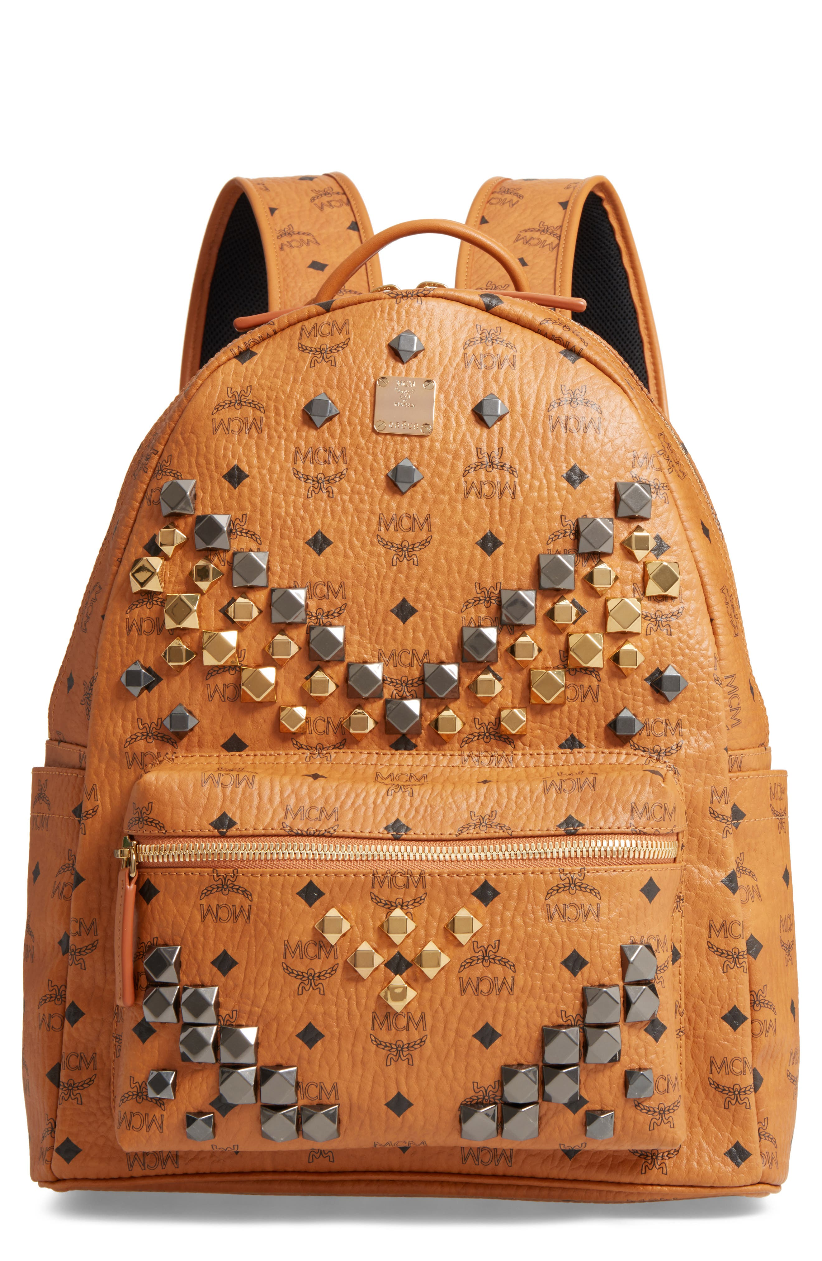 Alternate Image 1 Selected - MCM Medium Stark - Visetos Studded Logo Backpack
