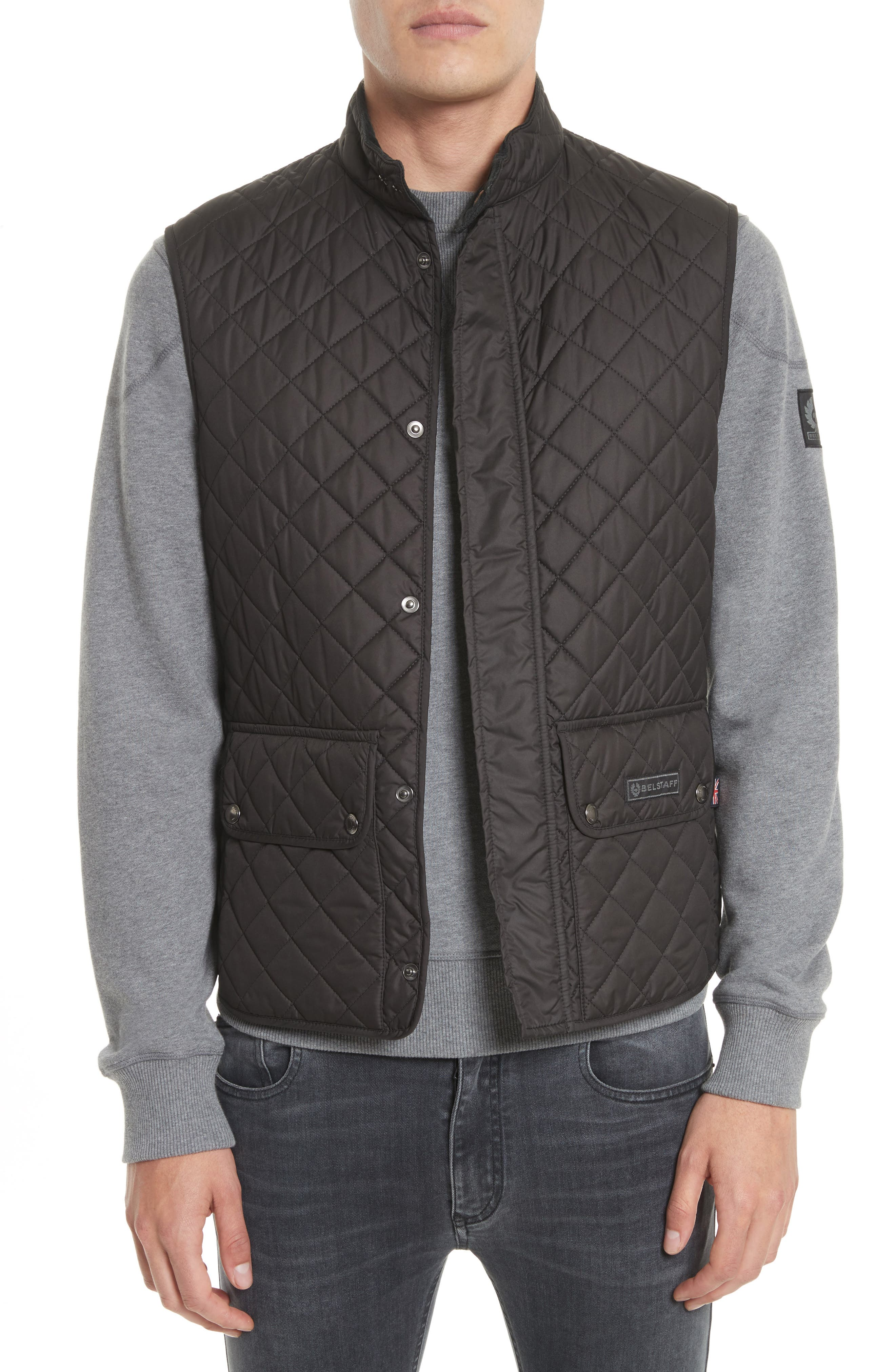 Waistcoat Tech Quilted Vest,                             Main thumbnail 1, color,                             Black