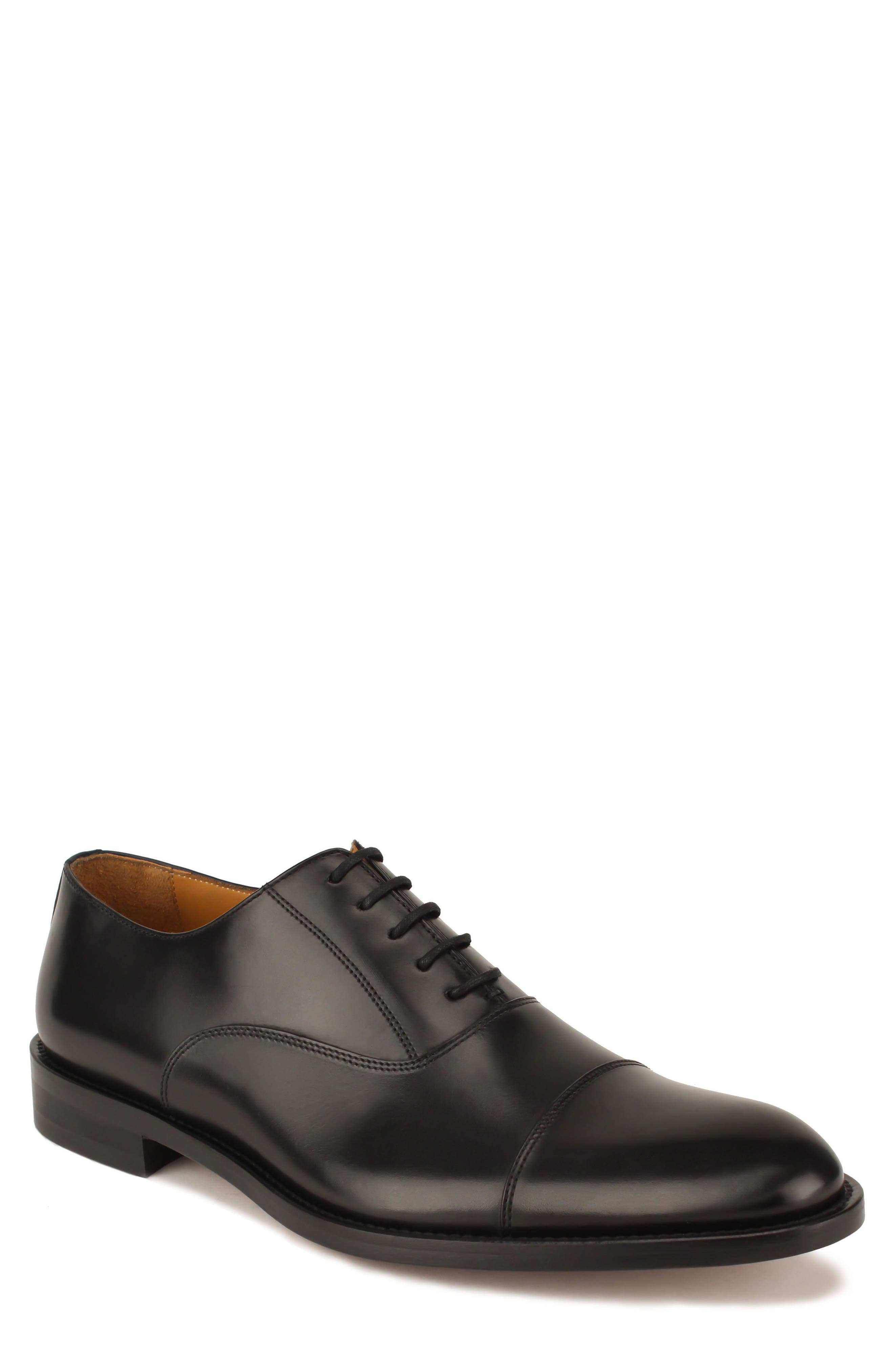 Nathan Cap Toe Oxford,                             Main thumbnail 1, color,                             Black Leather