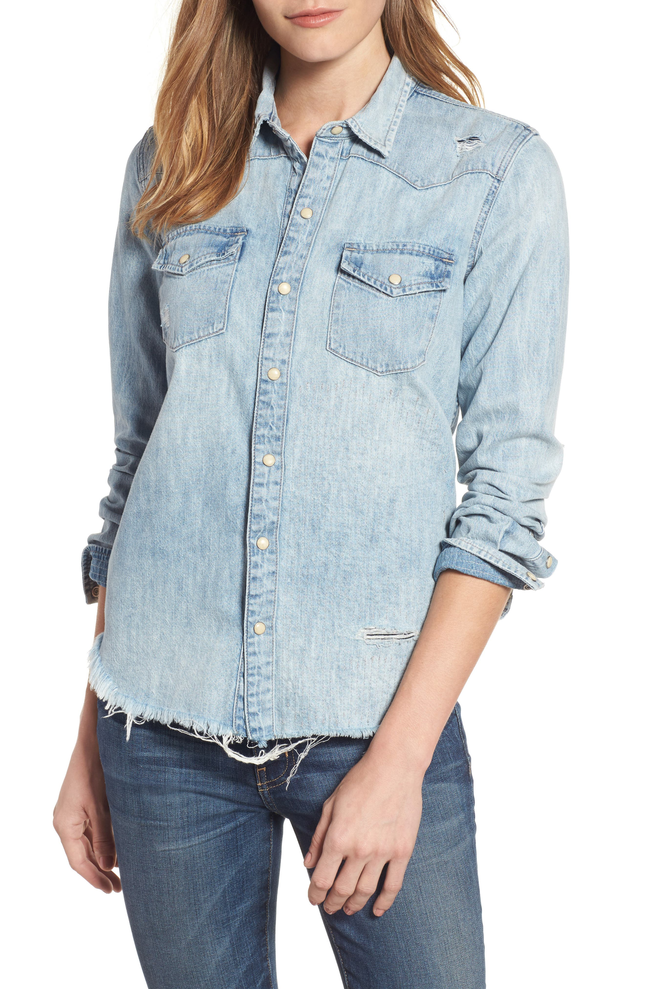 Lucky Brand Studded Denim Western Shirt