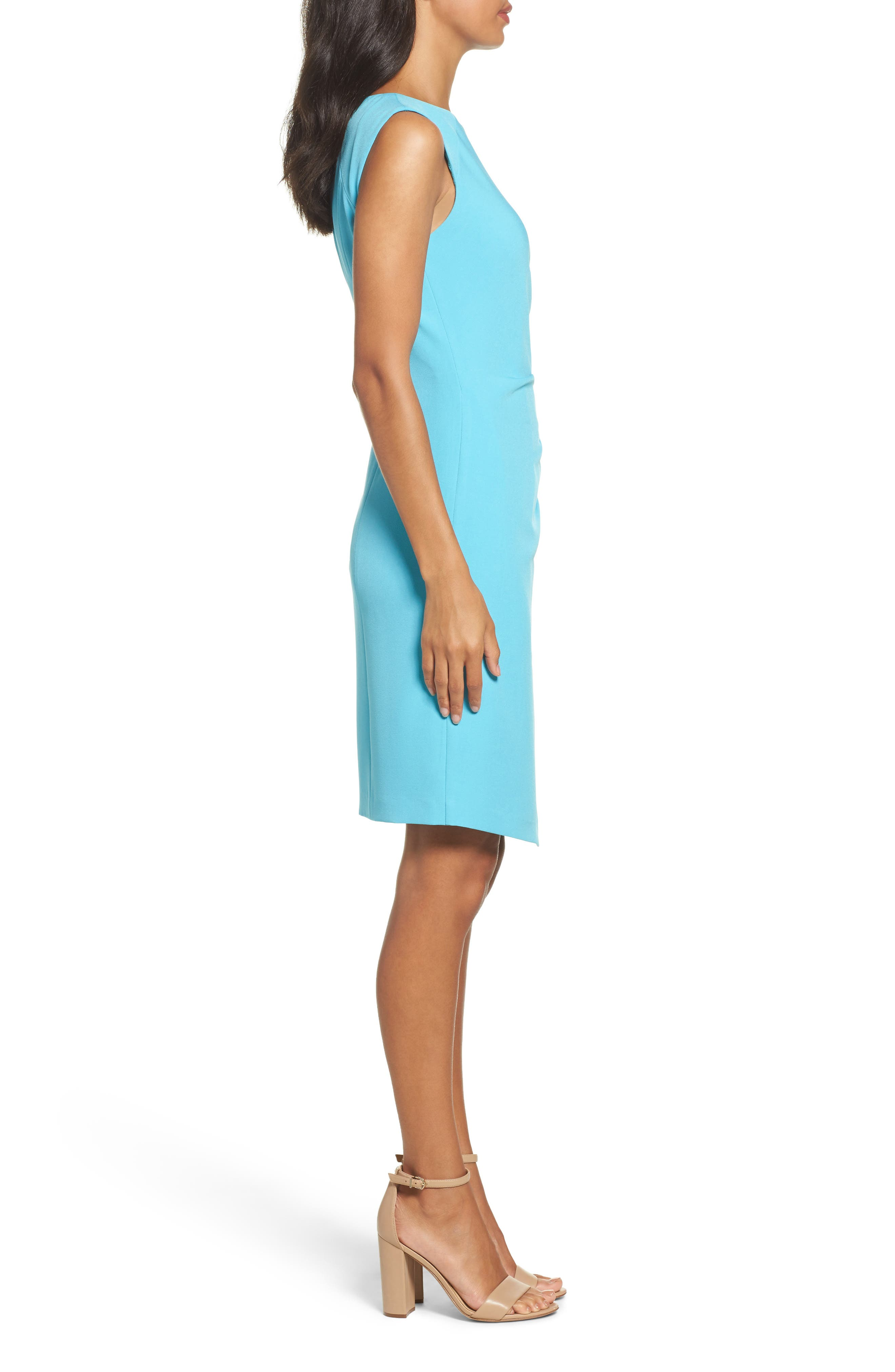 Stretch Sheath Dress,                             Alternate thumbnail 3, color,                             Pacific Blue